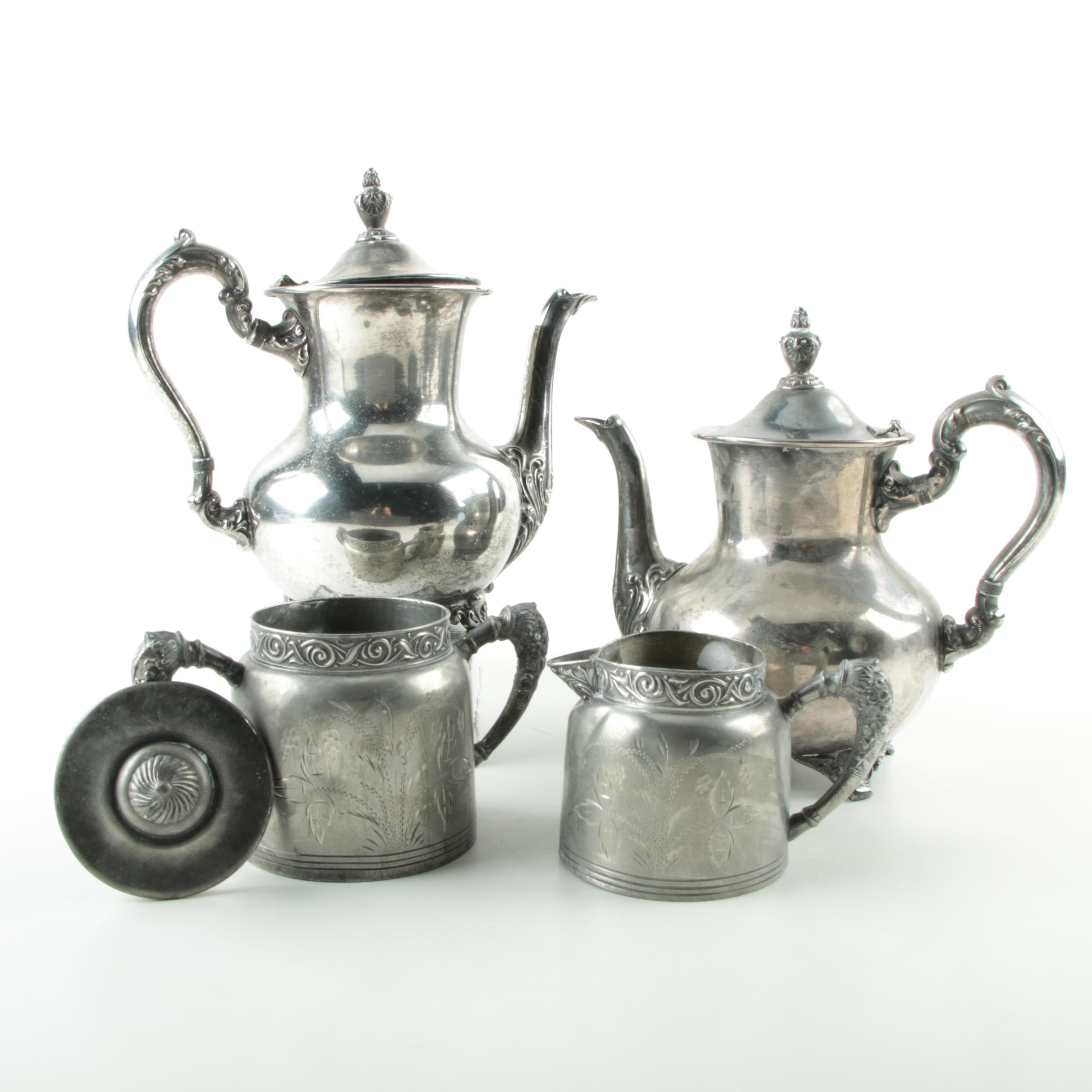 Poole Silver Plate Coffee and Teapot with Empire Mfg. Co. Sugar and Creamer Set