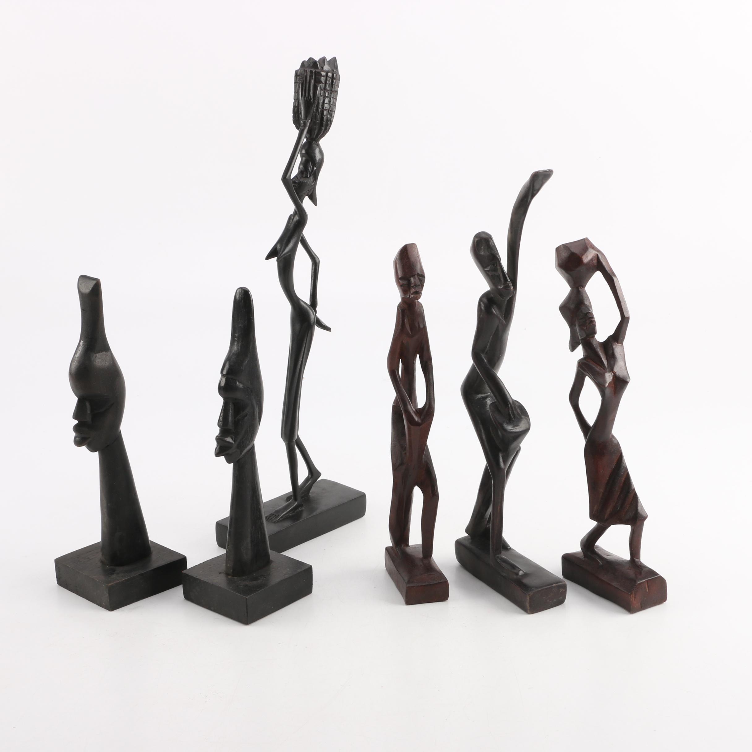 Haitian Carved Mahogany Figurines