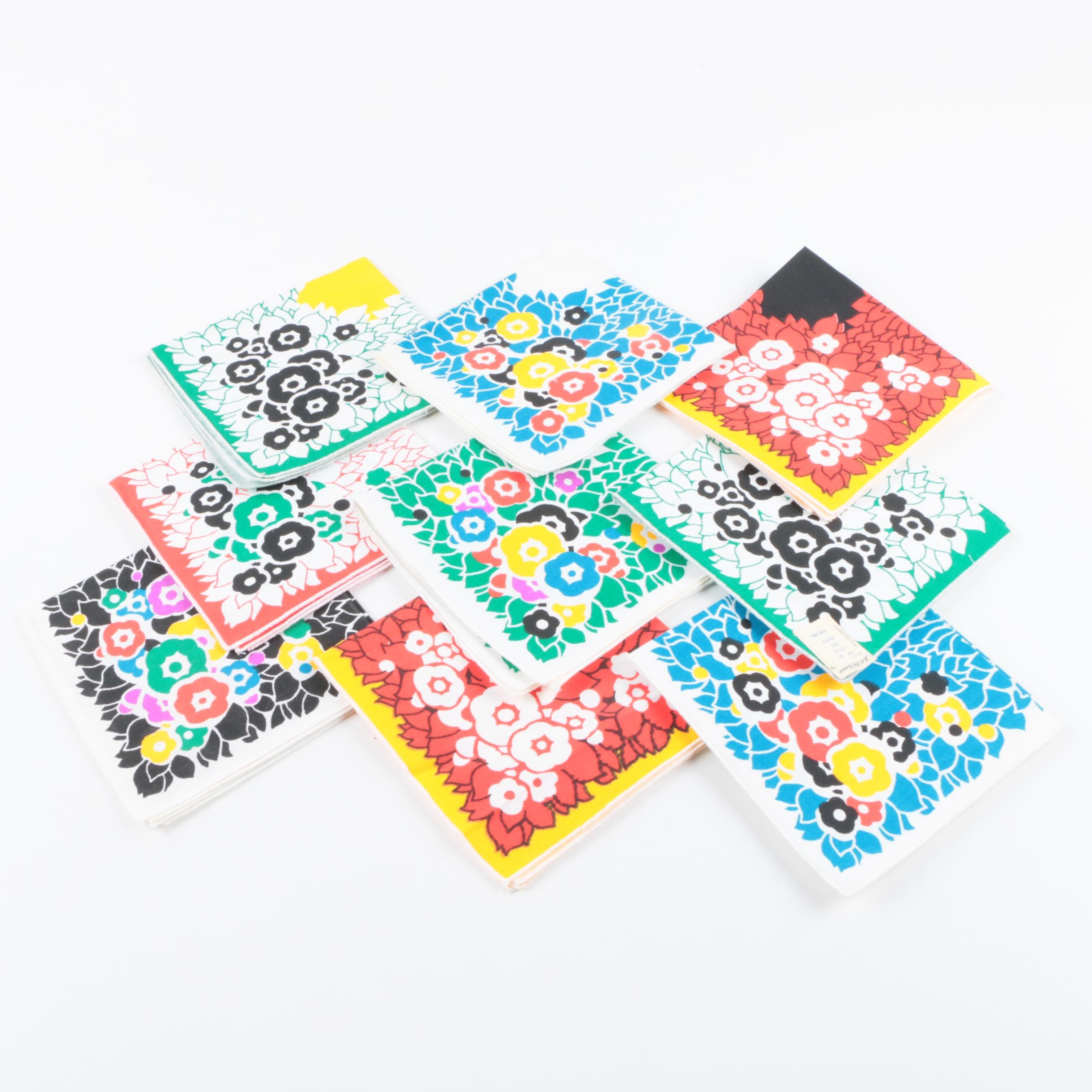 Assortment of Vintage Handkerchiefs with Floral Patterns