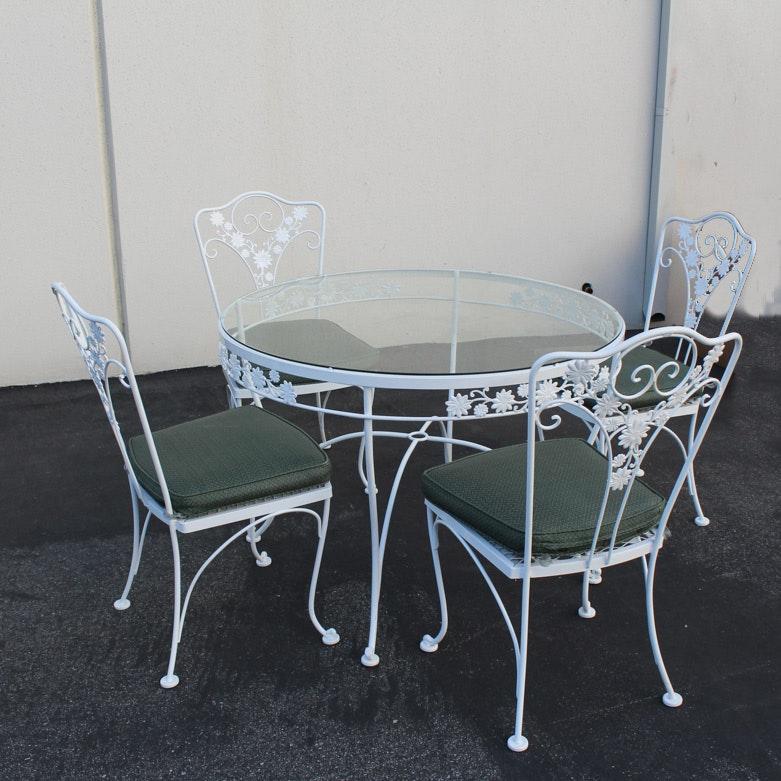 Vintage White Wrought Iron Patio Set ...