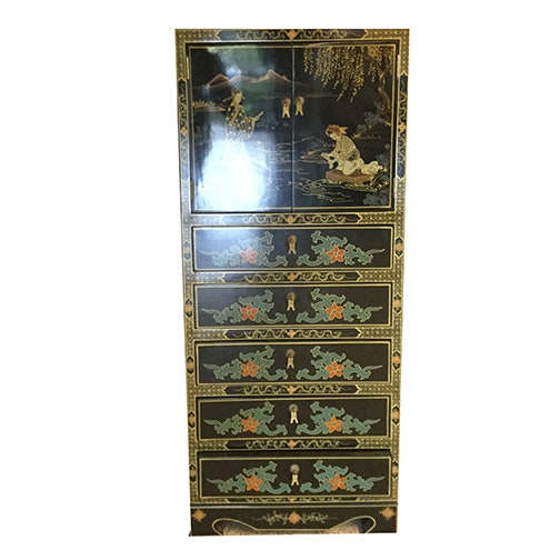 Chinoiserie Hand-Painted Chest of Drawers