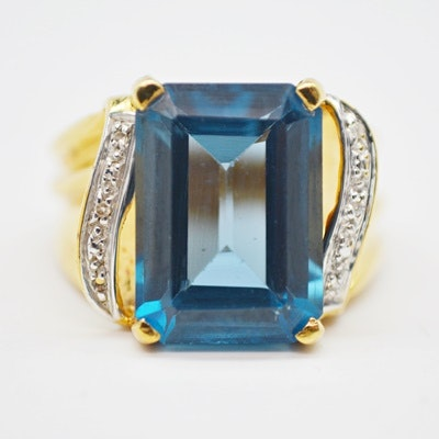 10K Yellow Gold Topaz and Diamond Ring