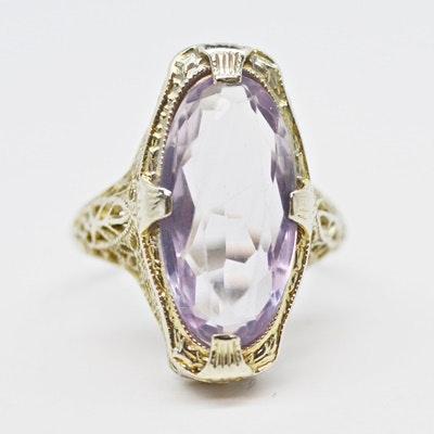 Early Art Deco 14K White Gold Amethyst Filigree Ring