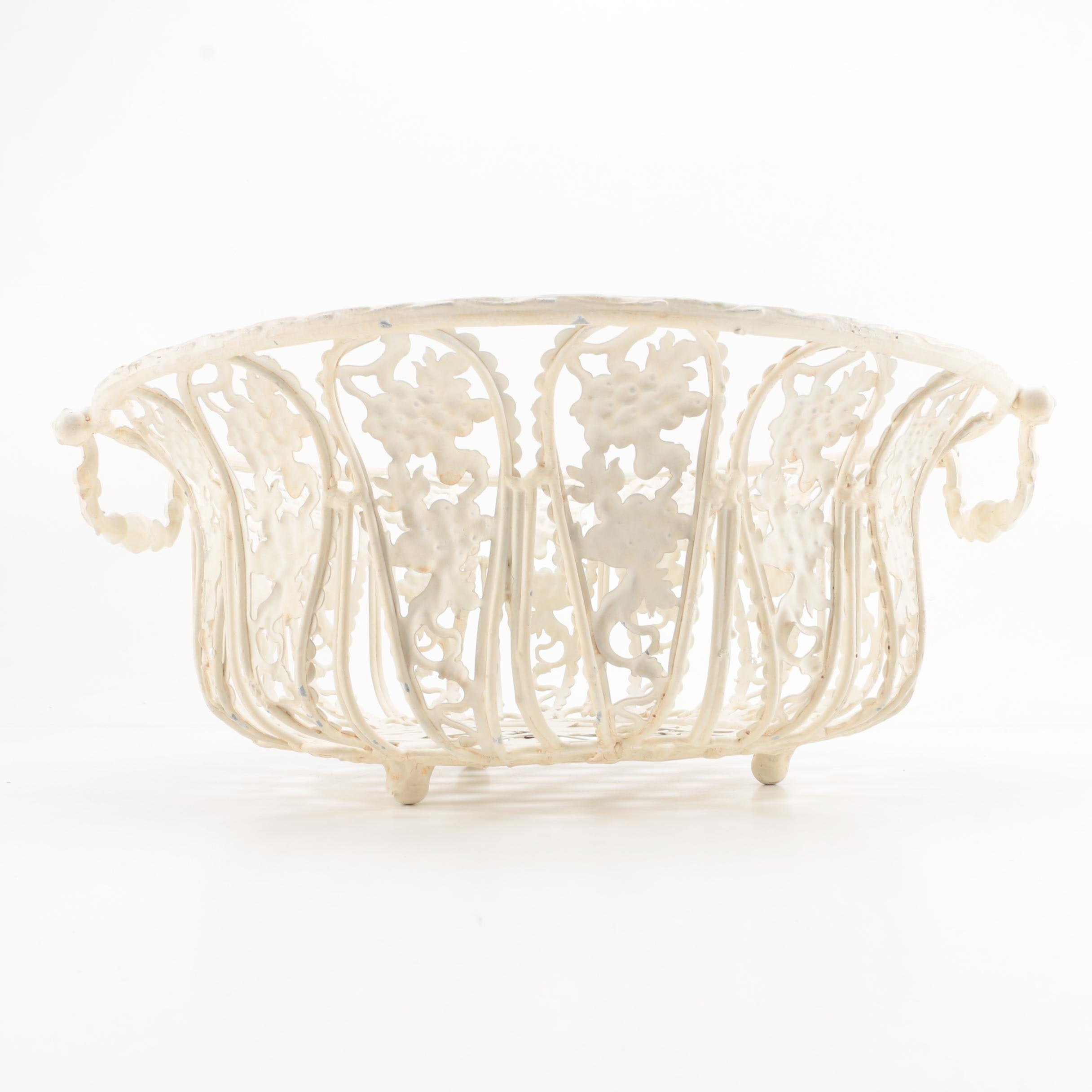 Decorative White Metal Basket