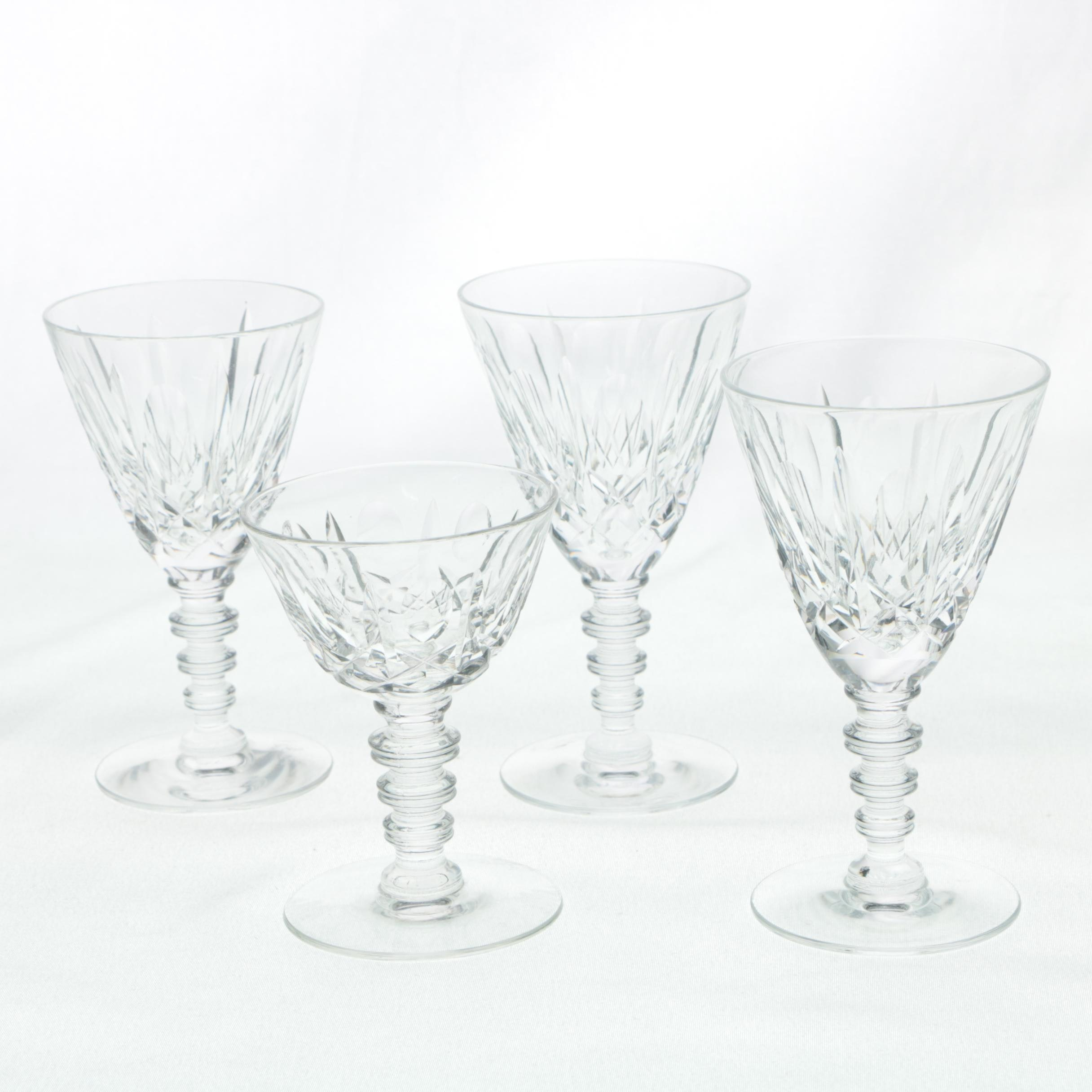 "Hawkes ""Mystic"" Crystal Wine Glasses and Liquor Cocktail Glass"