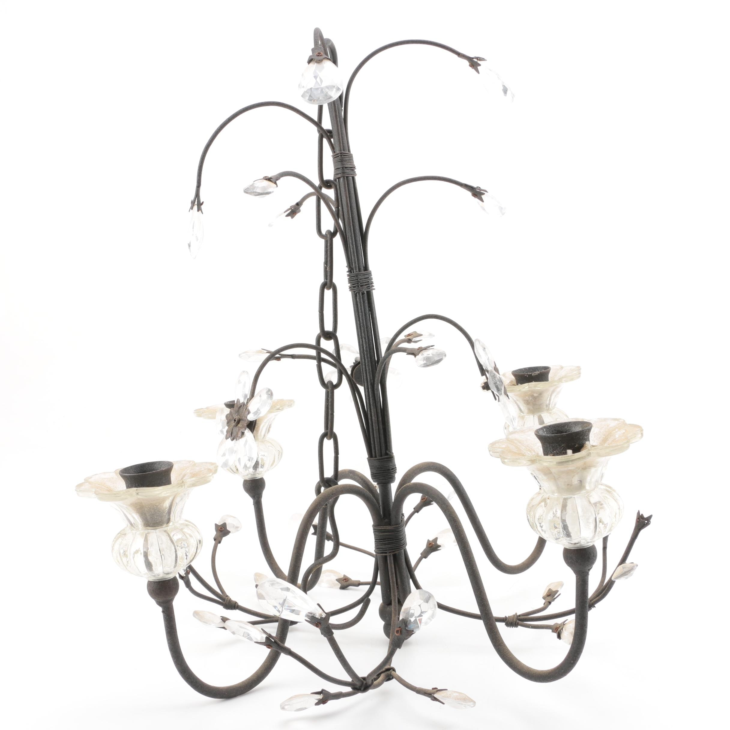 Flower Theme Metal and Glass Candle Chandelier