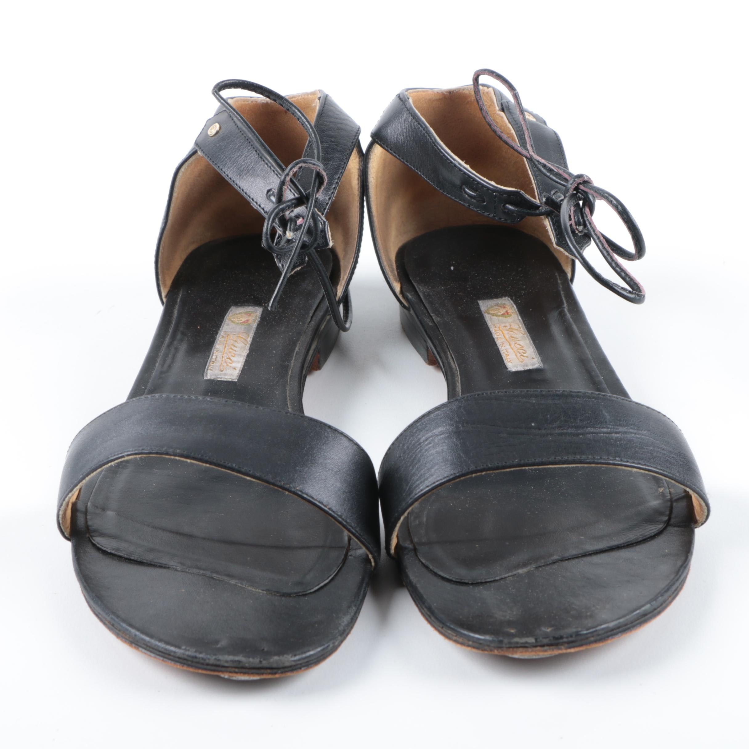 Vintage Gucci Black Leather Ankle Strap Sandals