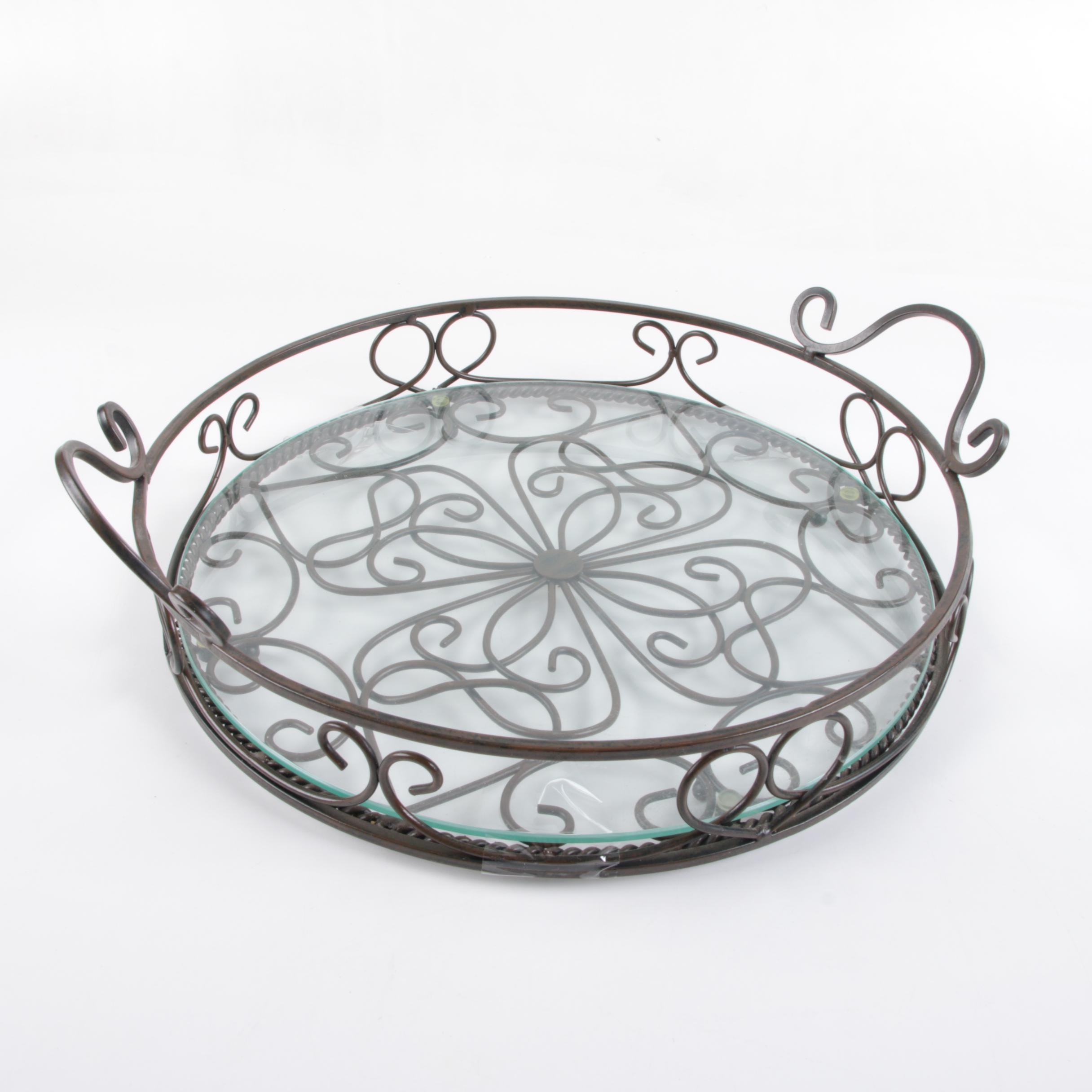 Scrolled Metal and Glass Tray