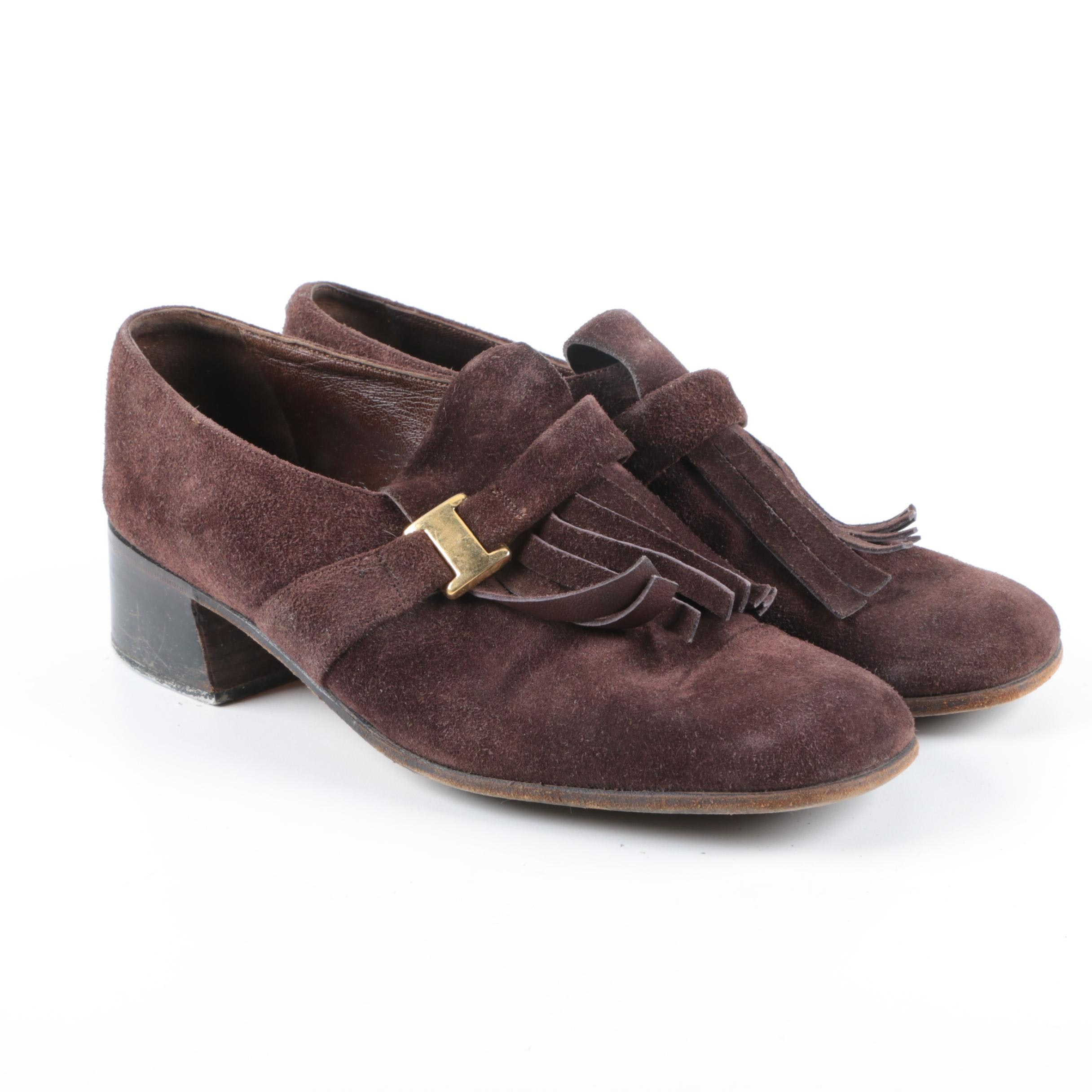 Vintage Bally Brown Suede Heeled Loafers