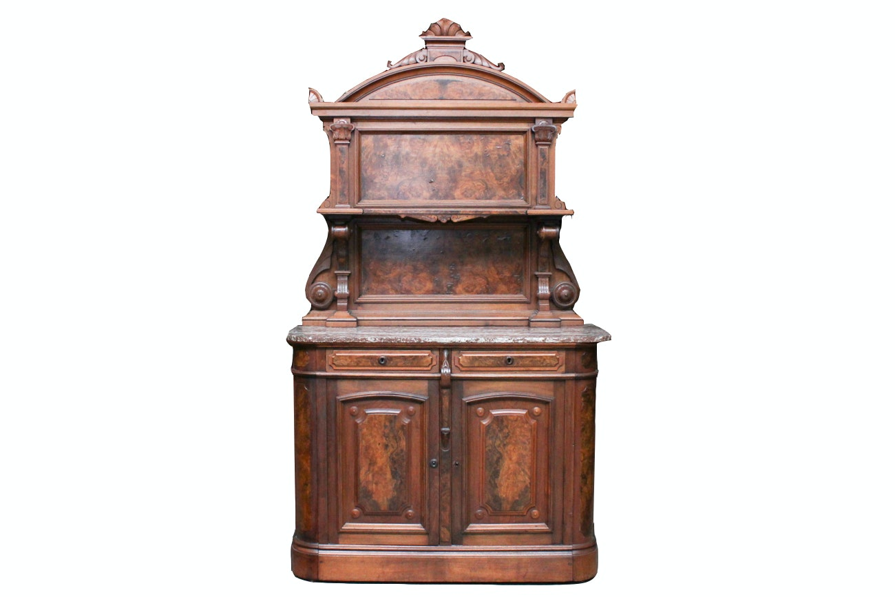 Renaissance Revival American Burl Walnut and Marble Sideboard