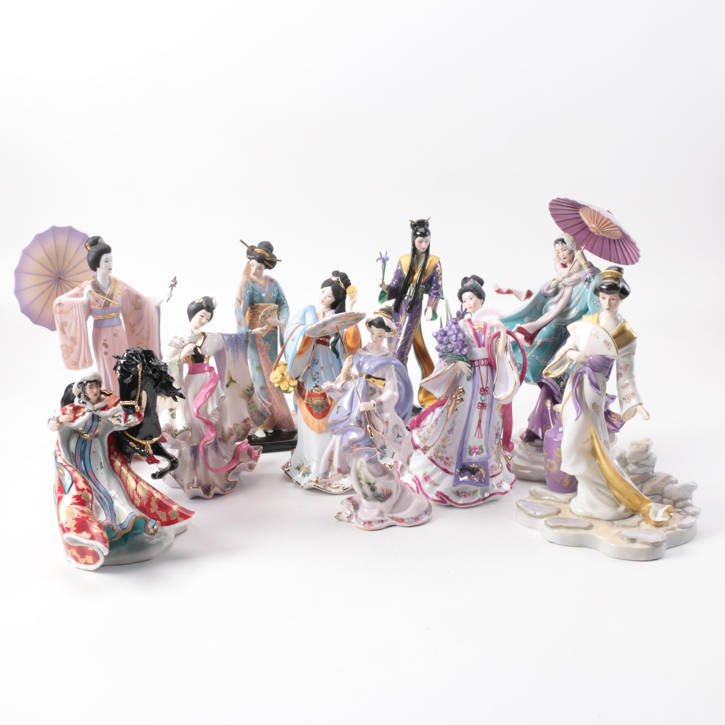 Chinese Inspired Porcelain Figurines including Franklin Mint and Danbury Mint