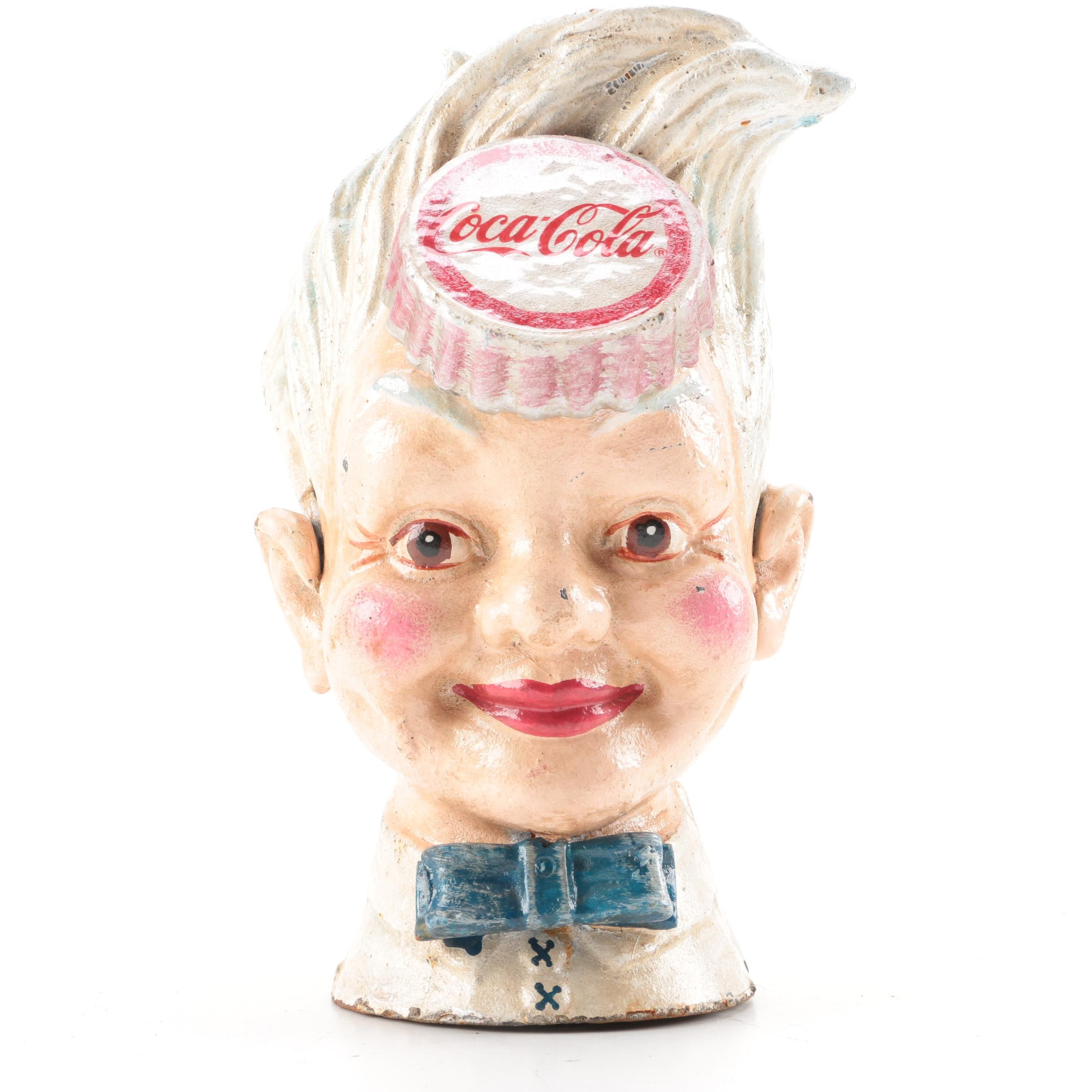 "Coca Cola ""Sprite Boy"" Cast Iron Coin Bank"