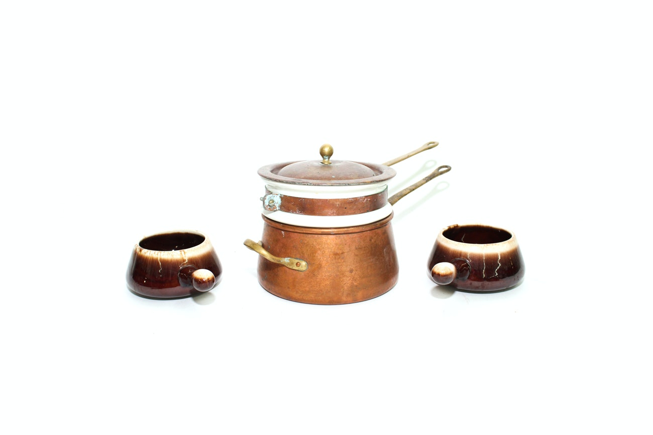 """B&M """"Douro"""" Copper and Ceramic Double Boiler with McCoy Crocks"""