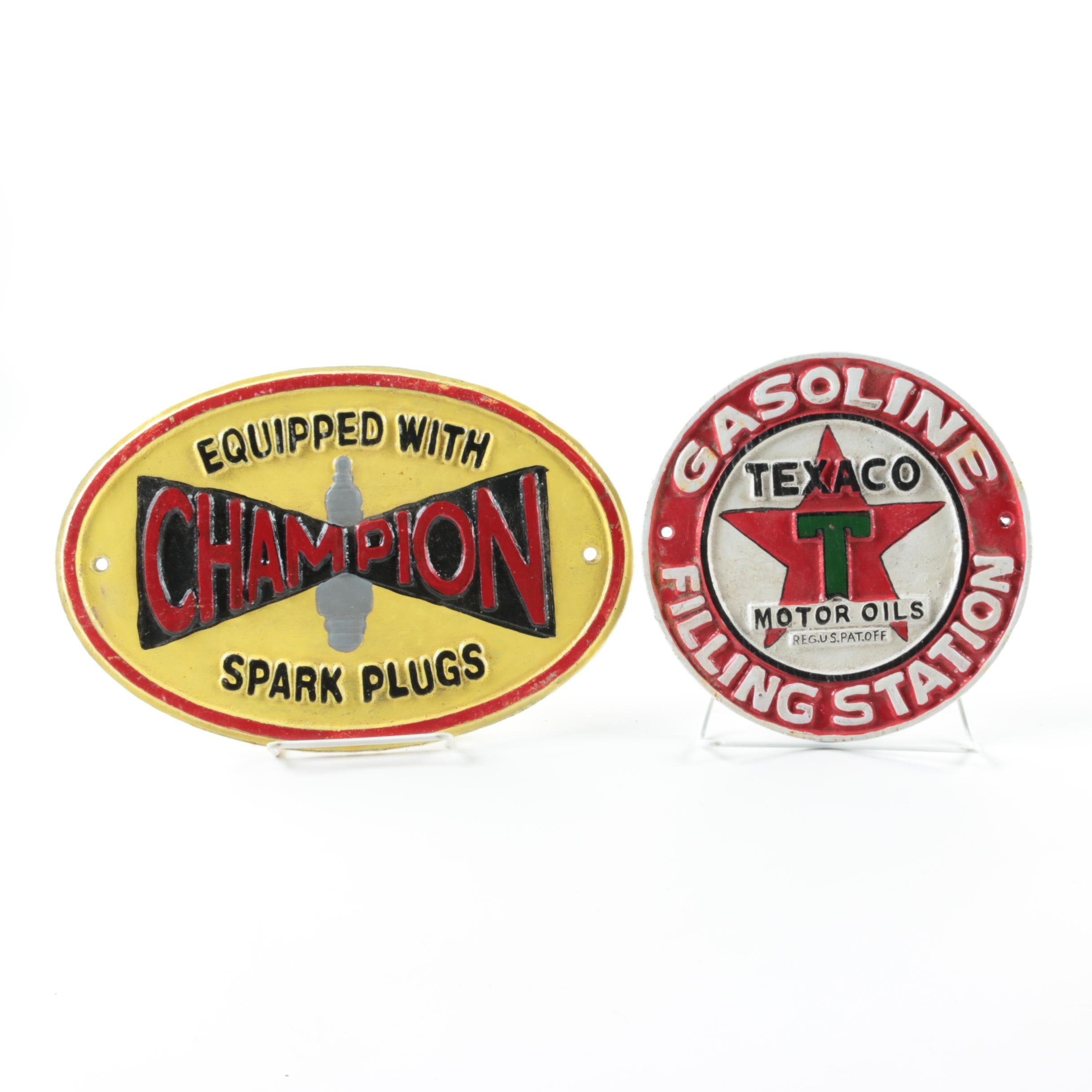 Iron Advertising Signs for Champion Spark Plugs and Texaco Oil