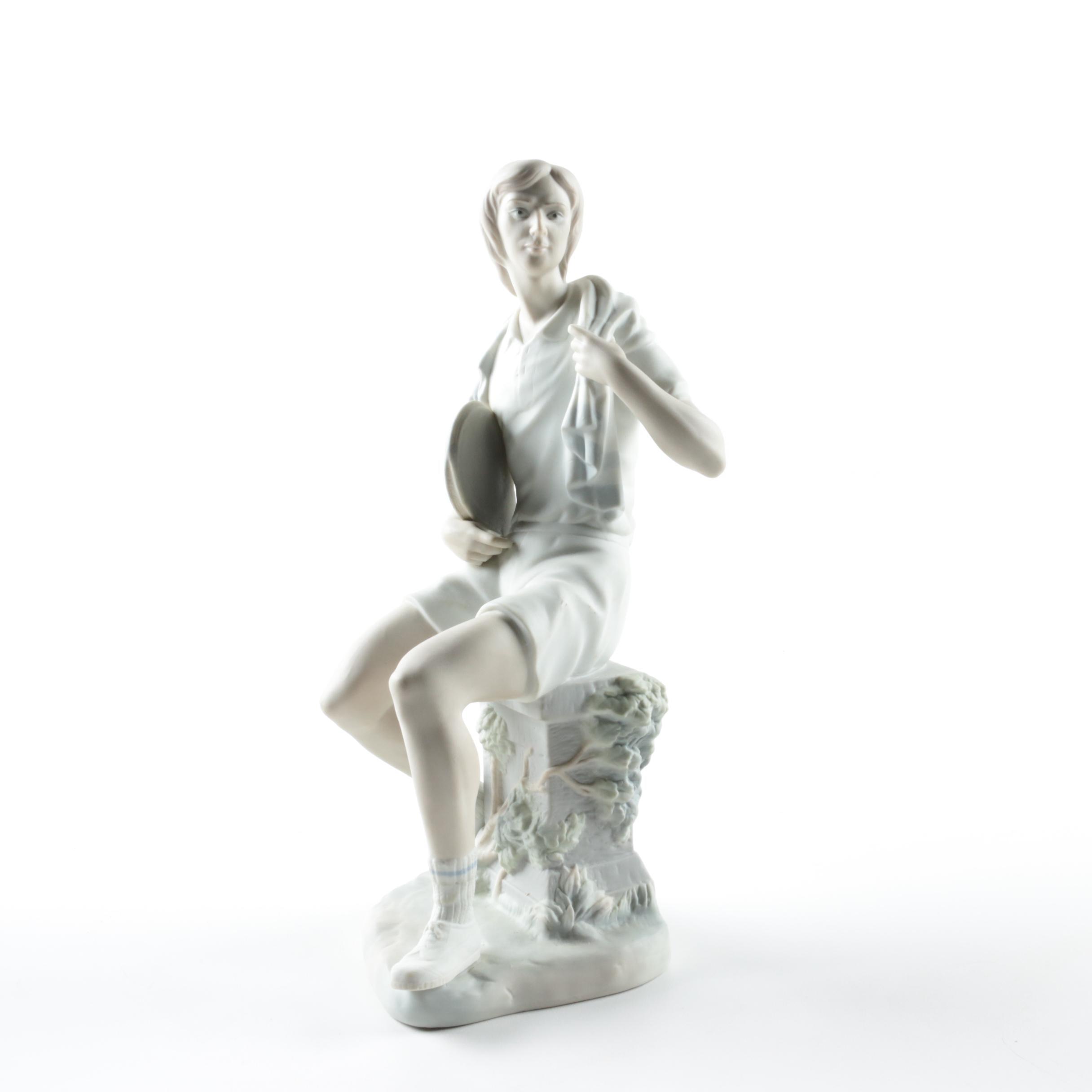 "Lladró ""Boy Tennis Player"" Porcelain Figurine"