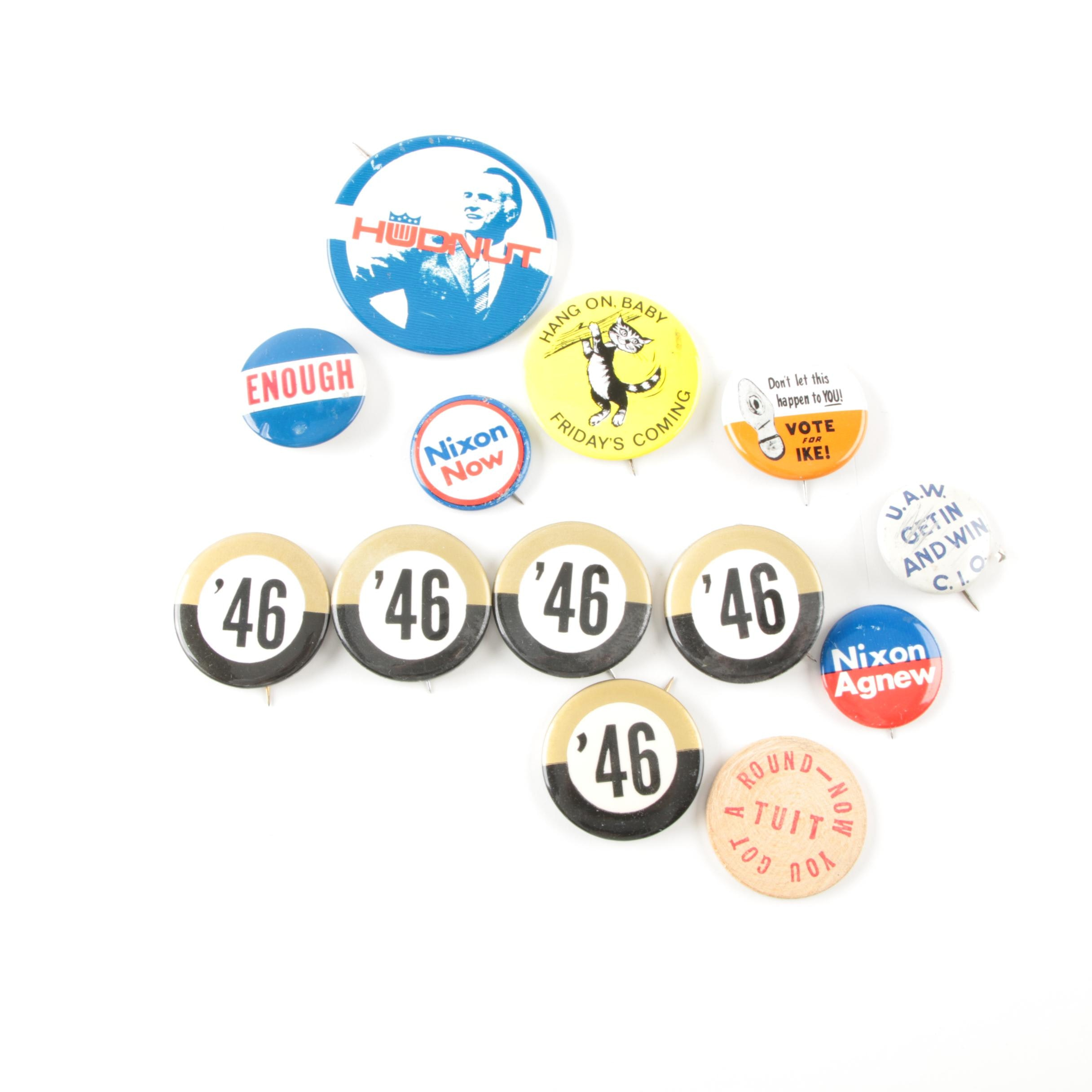 Assorted Vintage Political and Novelty Buttons Including Eisenhower and Nixon