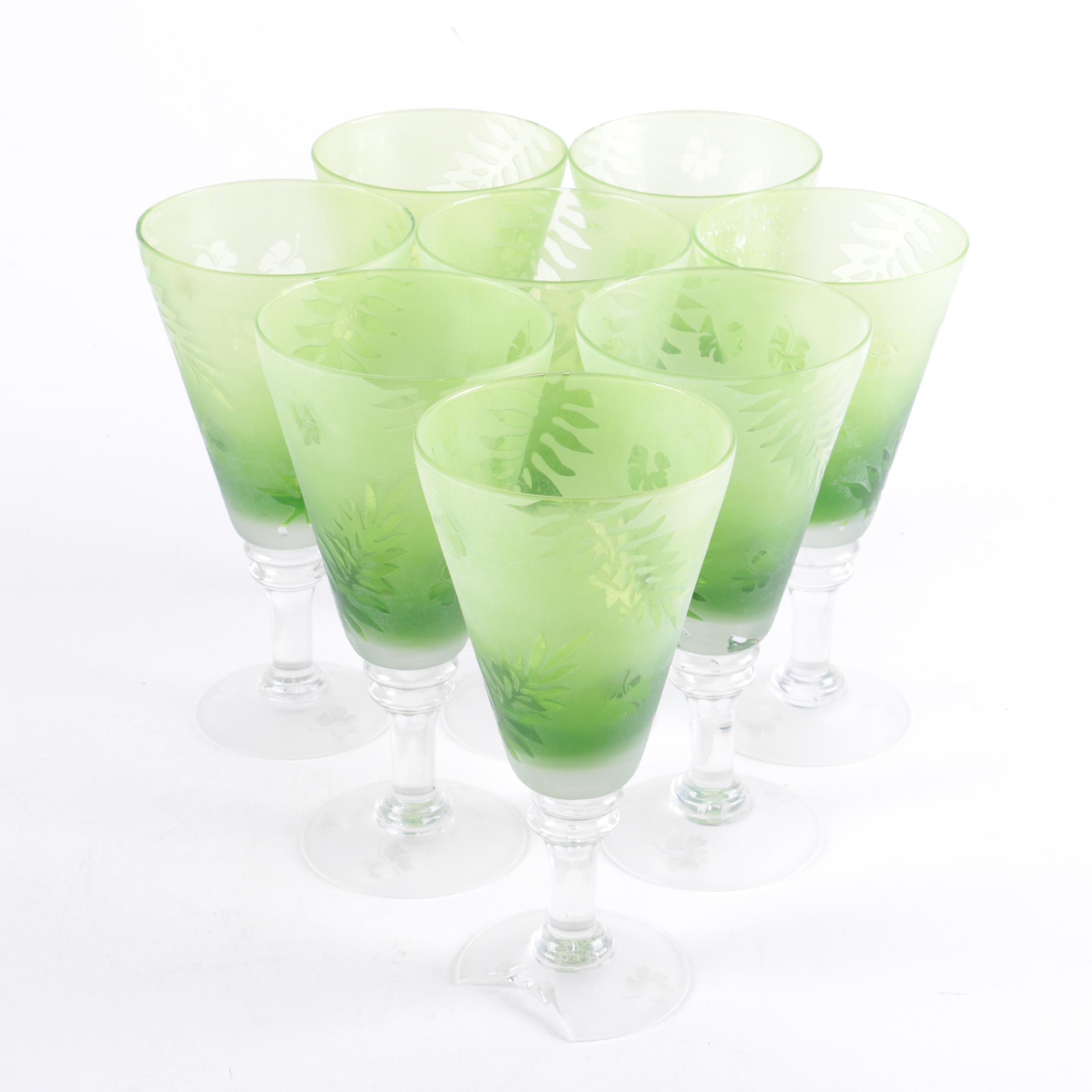 Shannon Crystal Frosted Green Glass Stemware