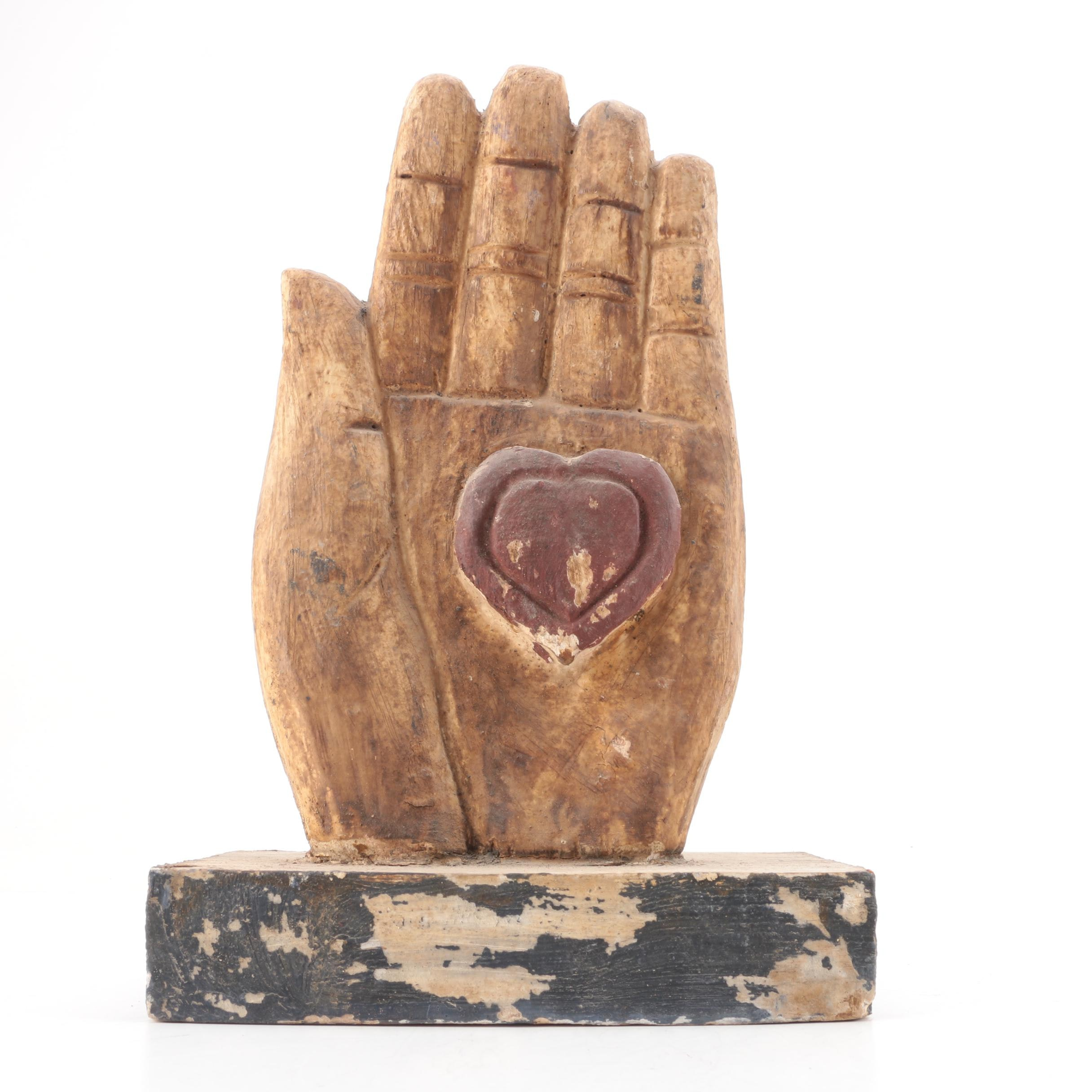 Handcrafted Wooden Heart-In-Hand Sculpture