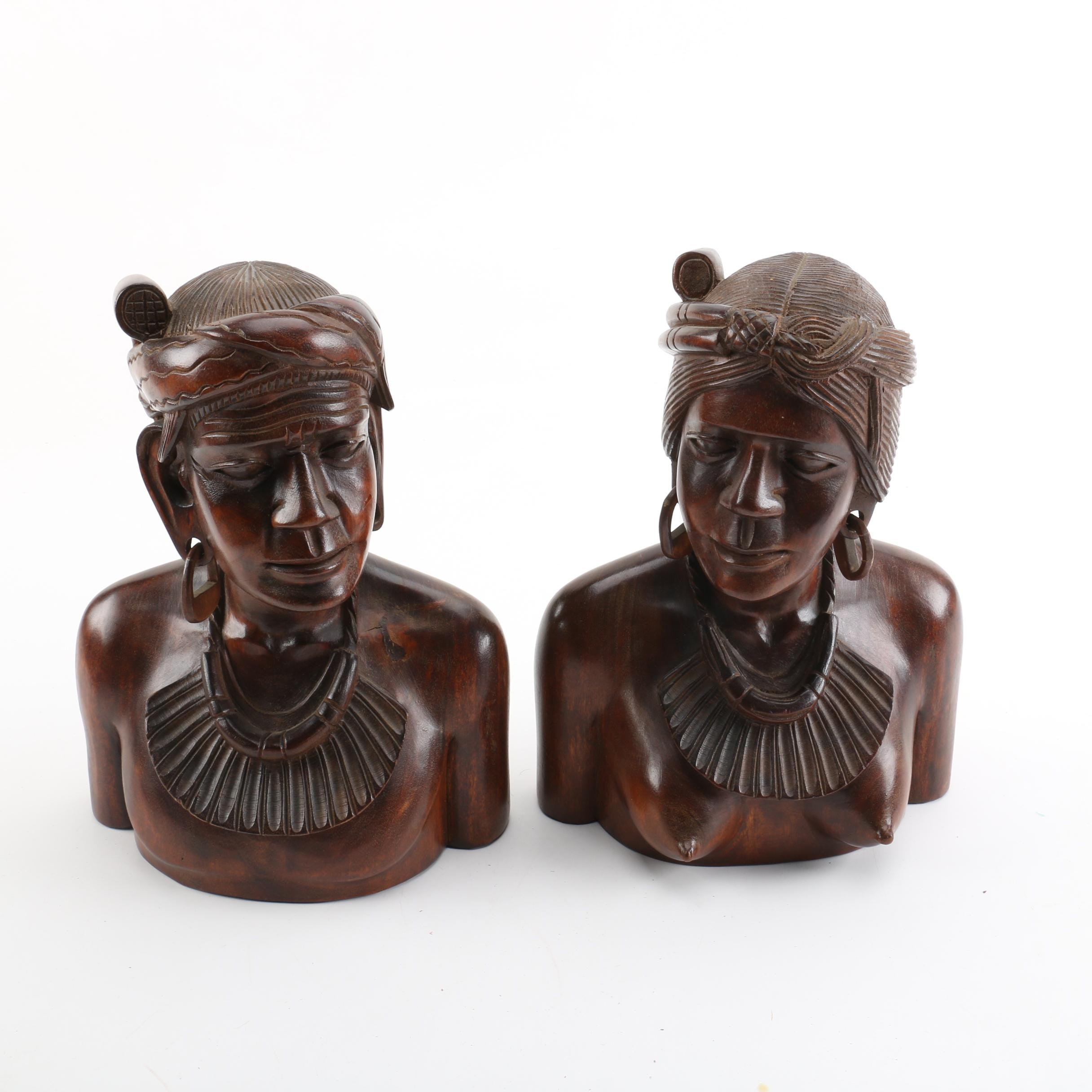 Balinese Carved Wood Busts