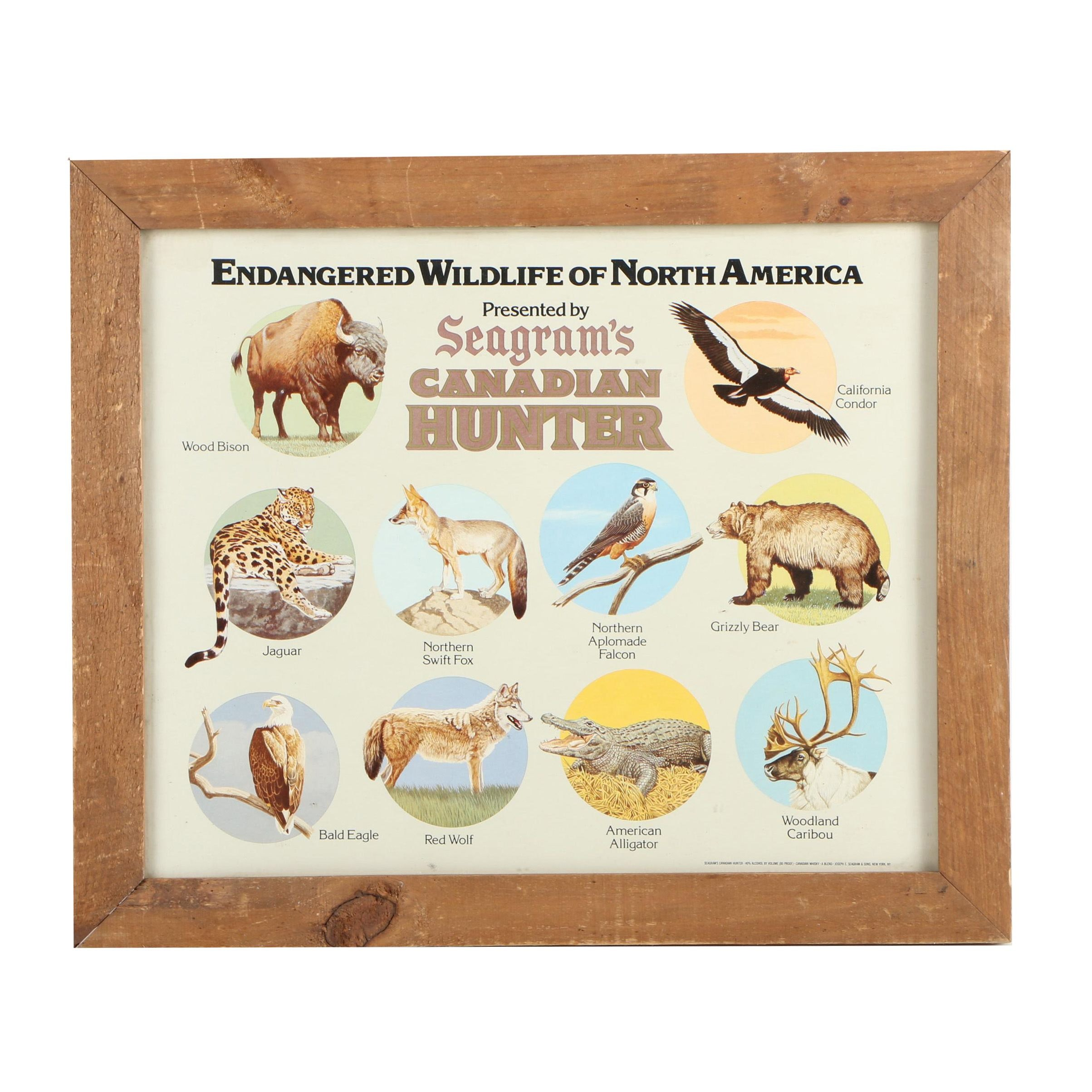 Offset Lithographic Advertisement for Seagram's of Endangered Wildlife