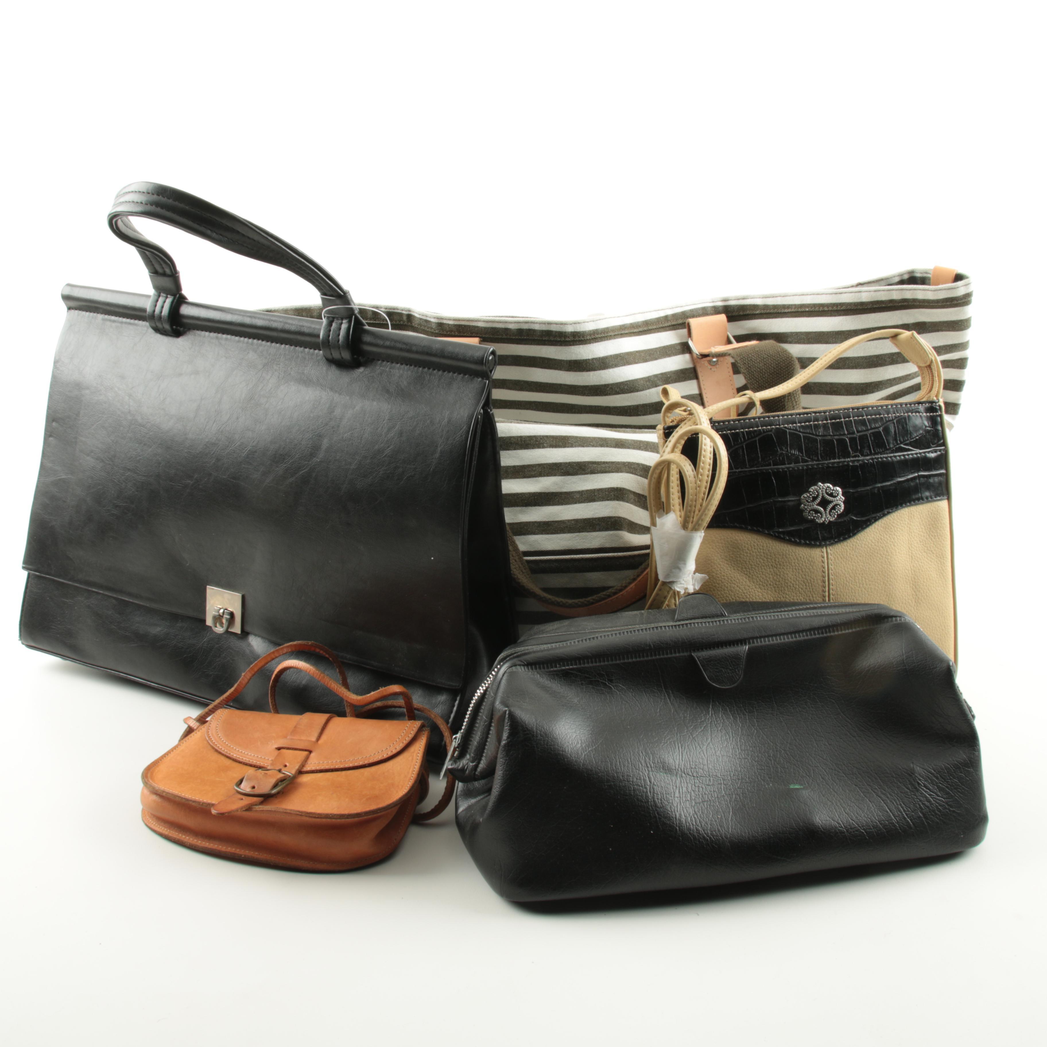 Leather Handbags Including a Gap Canvas Shopper Tote