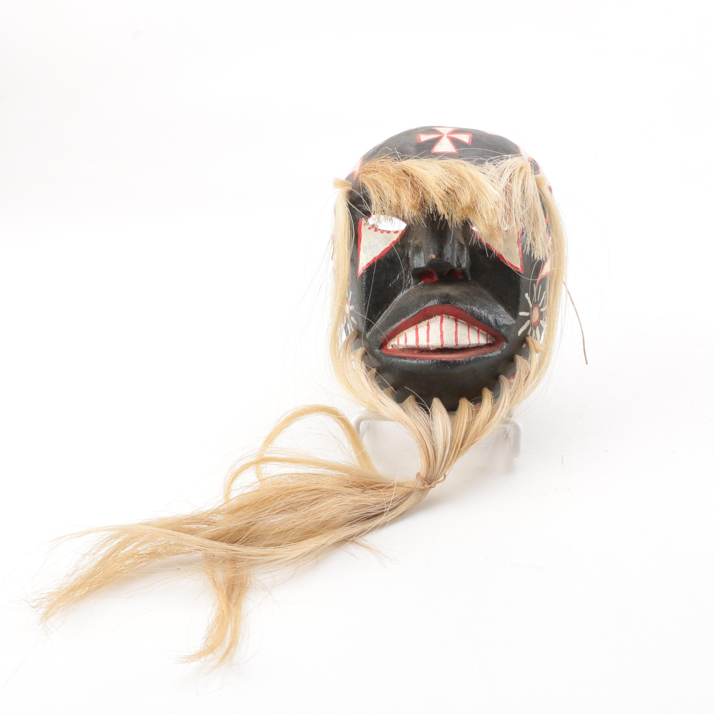 False Face Style Carved Wooden Mask