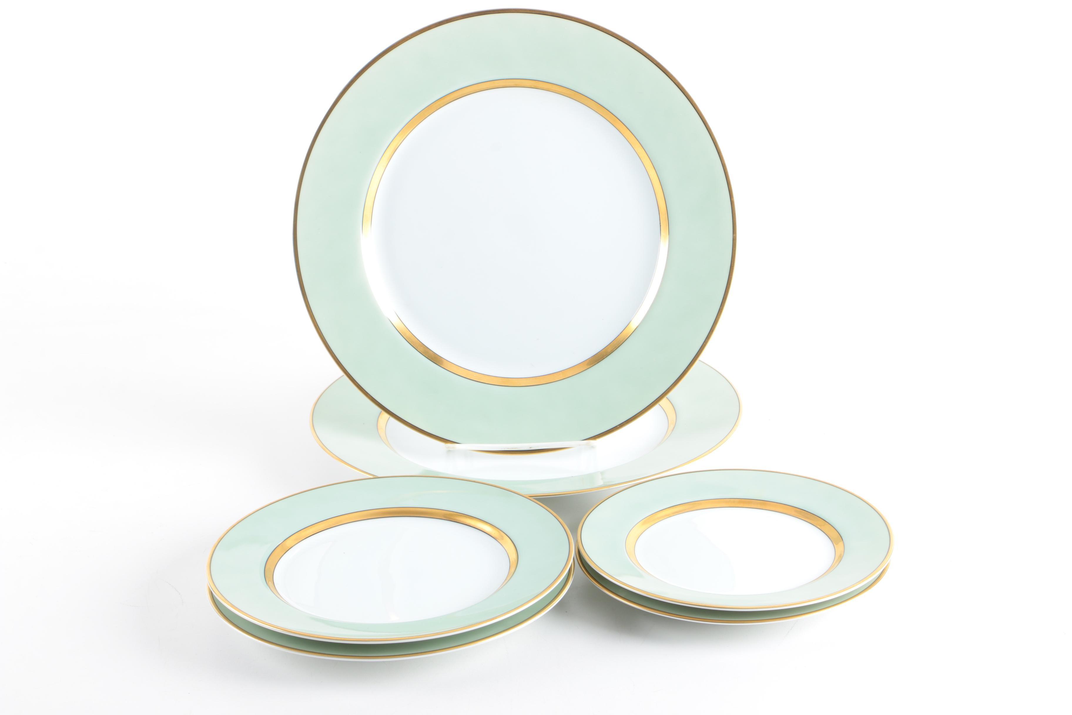 """Circa 1990 Fitz & Floyd """"Renaissance Mint Green"""" Porcelain Tableware"""