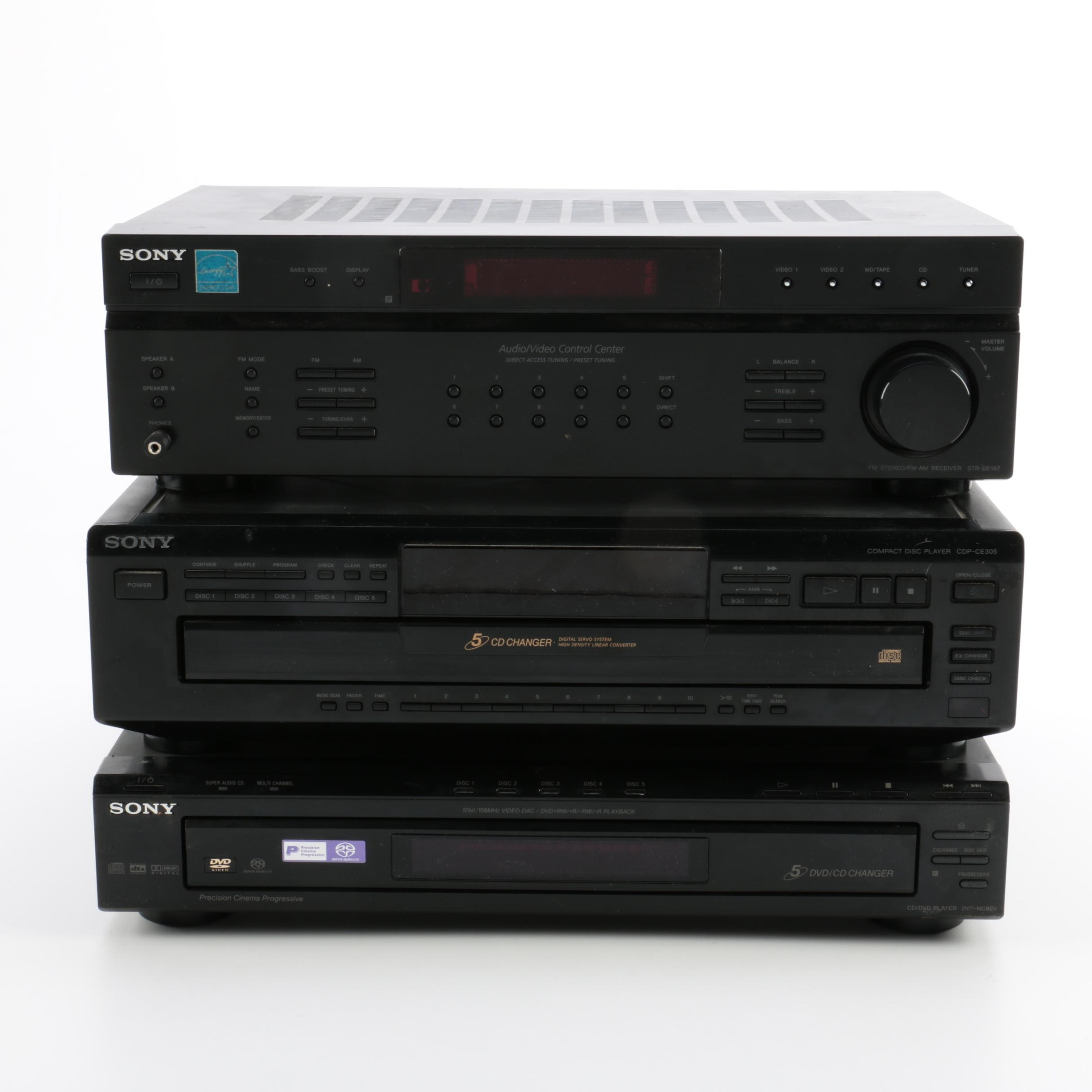 Sony AV Control Center, DVD Player, and 5-CD Changer