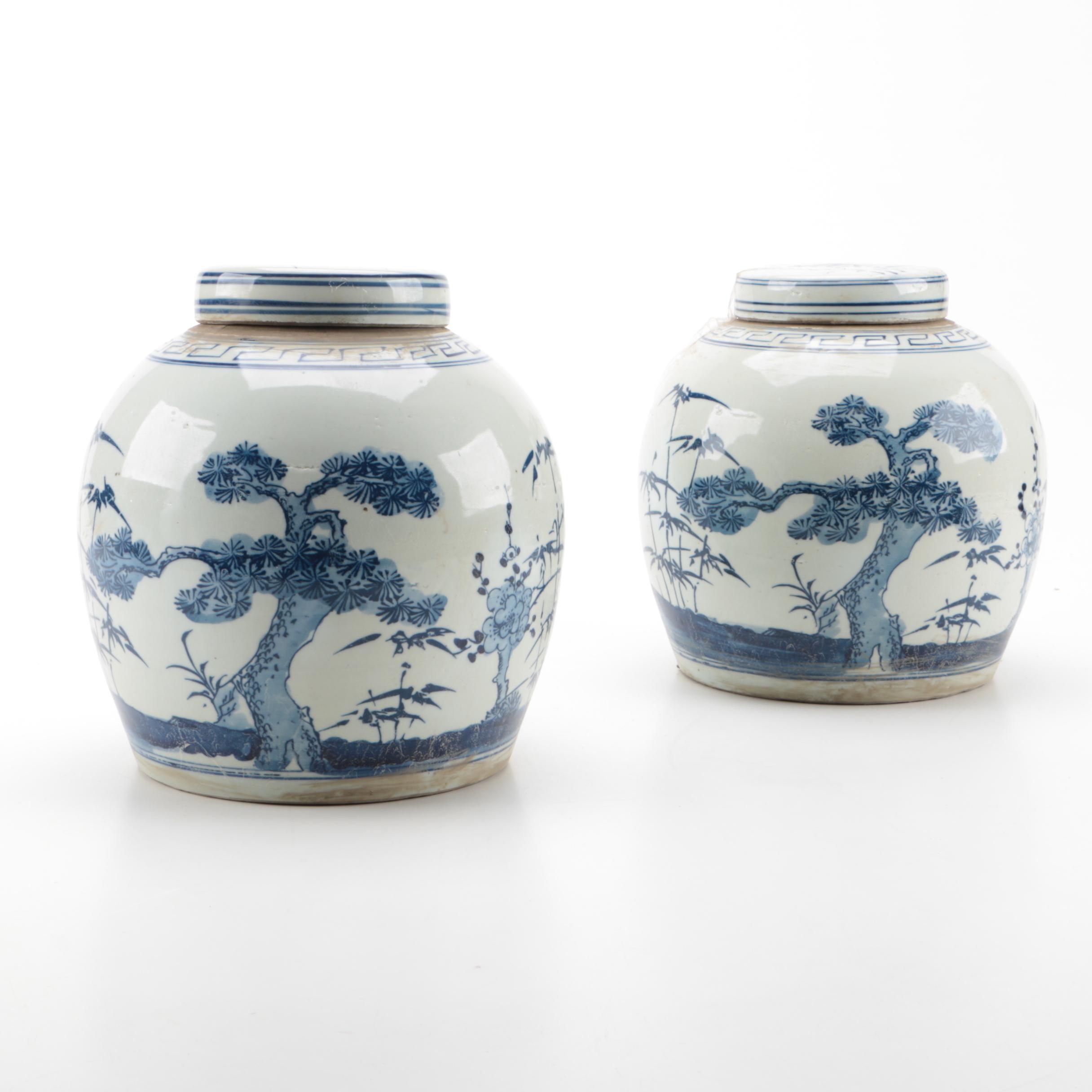 Chinese Covered Ceramic Jars
