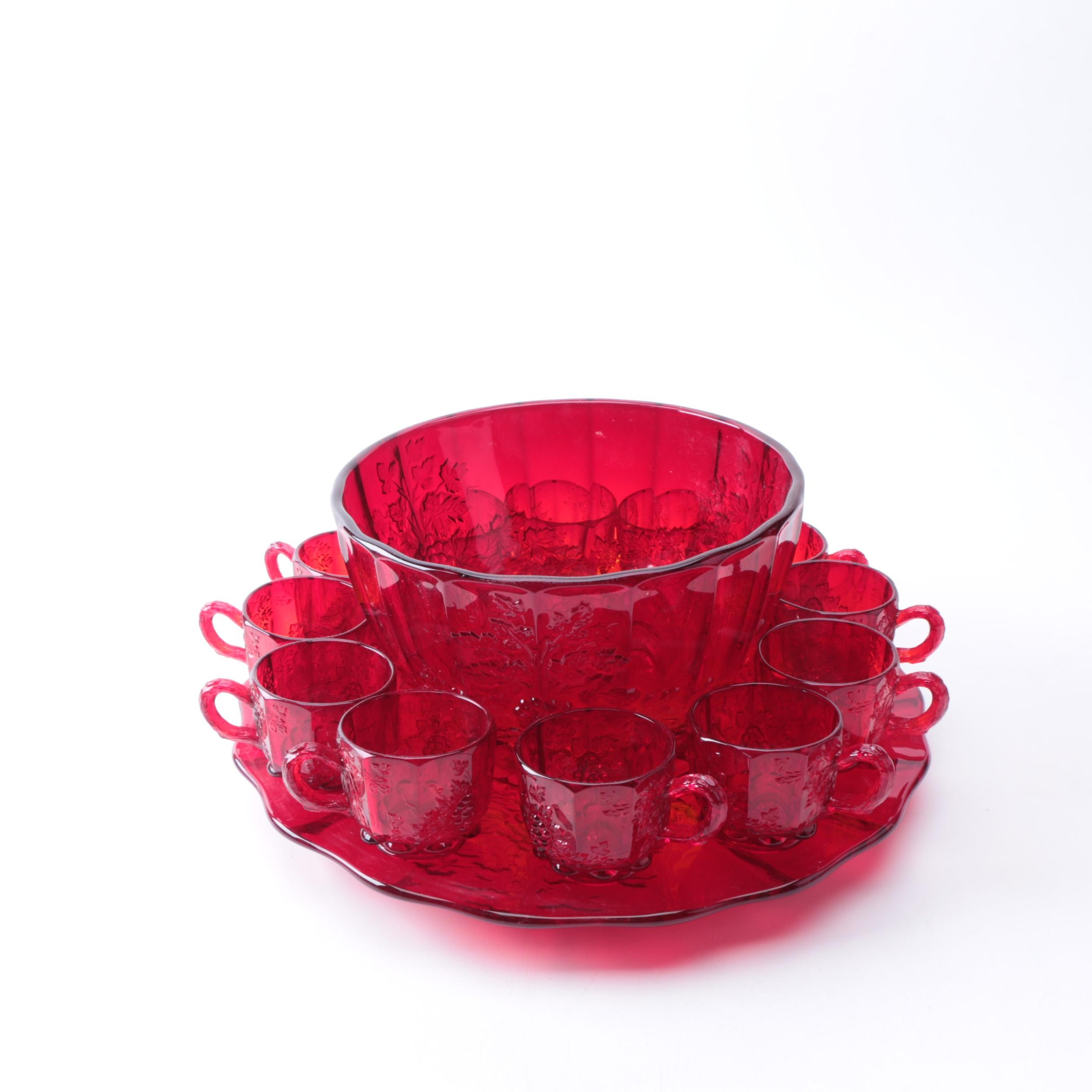 L.G. Wright Ruby Red Depression Glass Punch Bowl Set