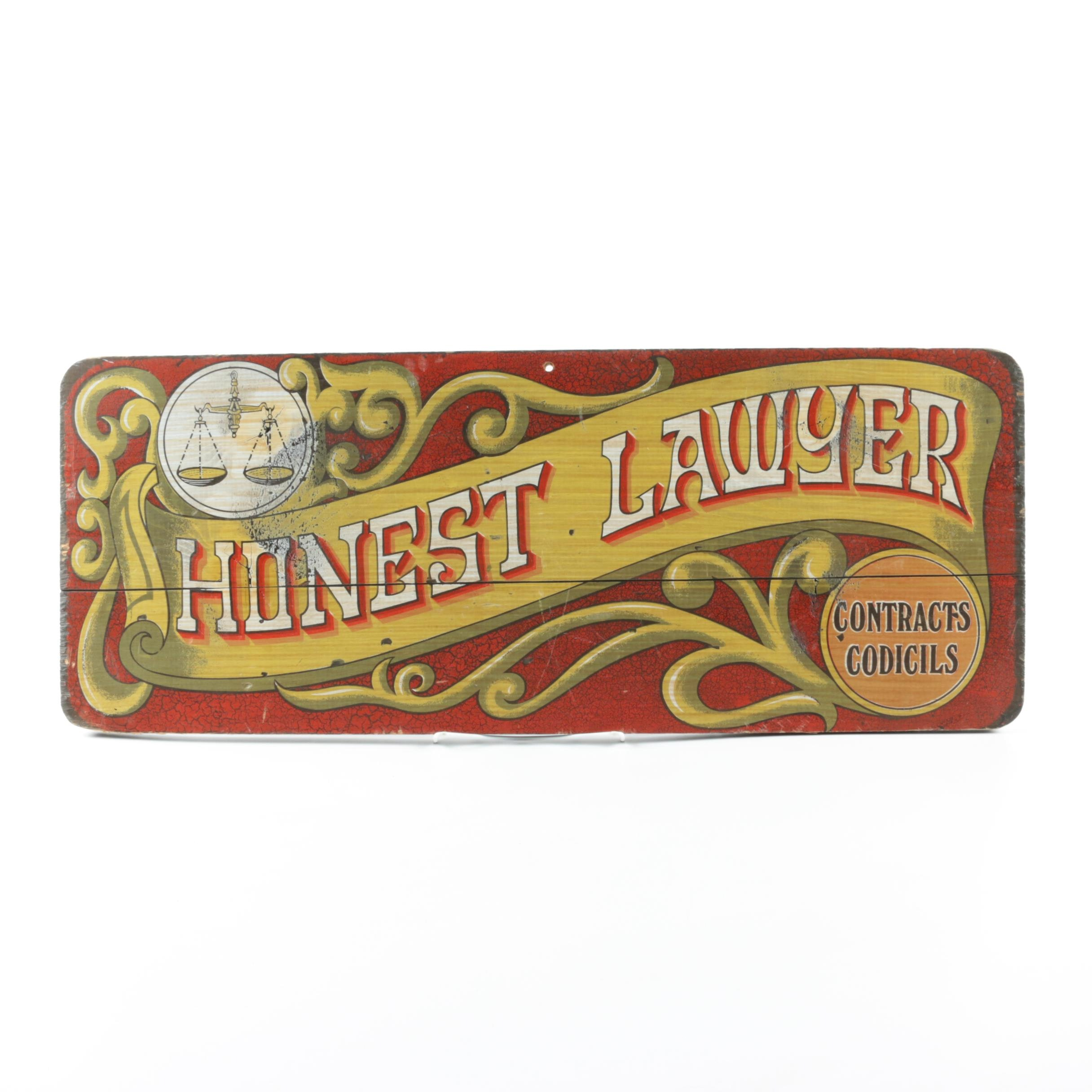"""Vintage """"Honest Lawyer"""" Wall Plaque"""
