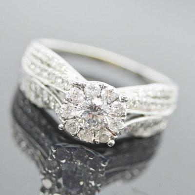 14K White Gold and 1.19 CTW Diamond Ring