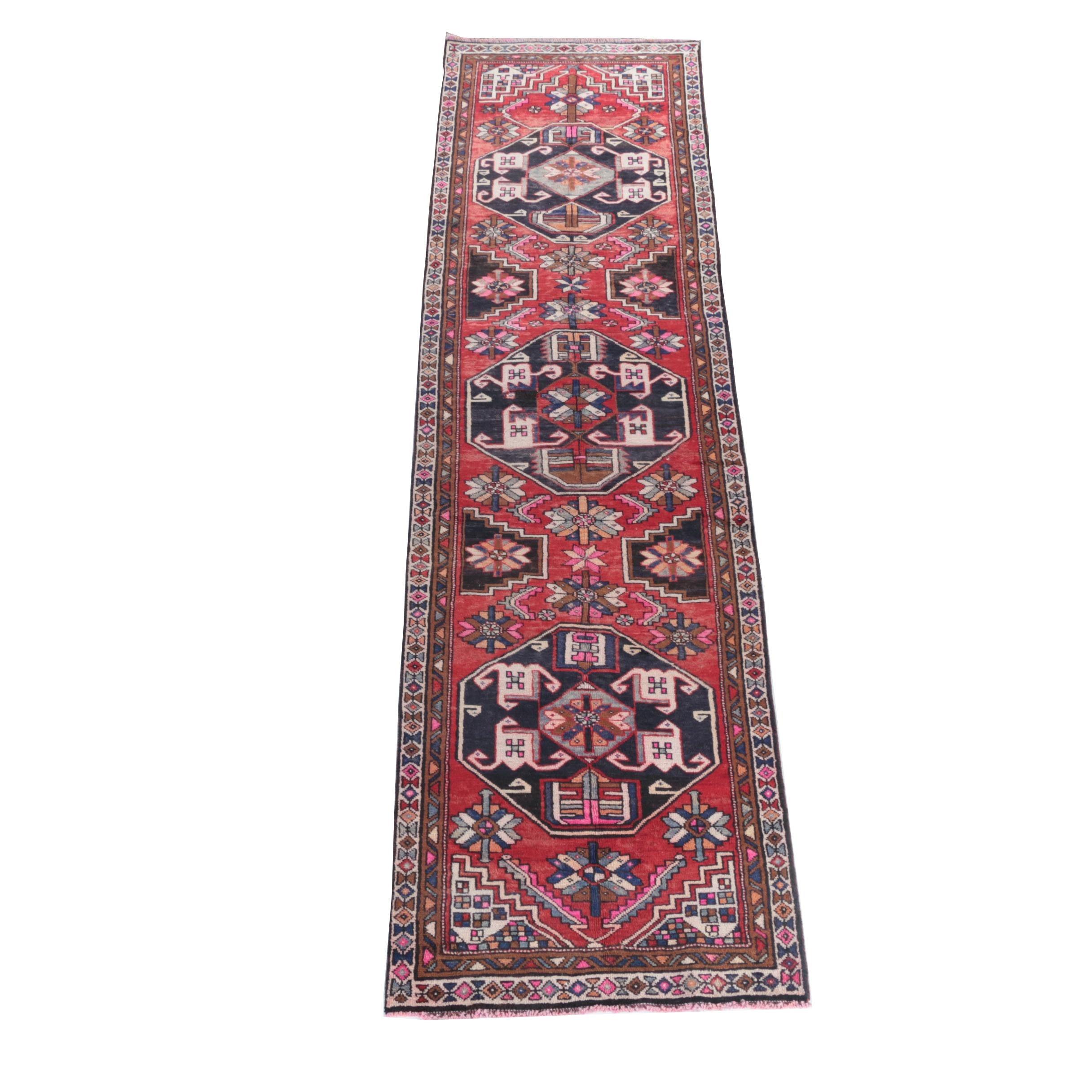 Hand-Knotted Hamadan Wool Carpet Runner