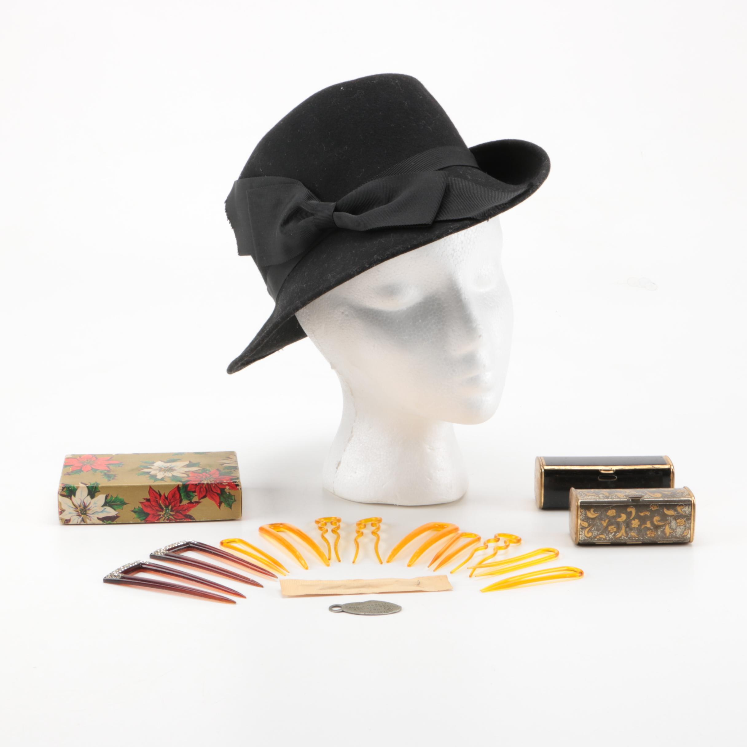 Vintage Doeskin Hat and Hair Accessories Including Lipstick Cases