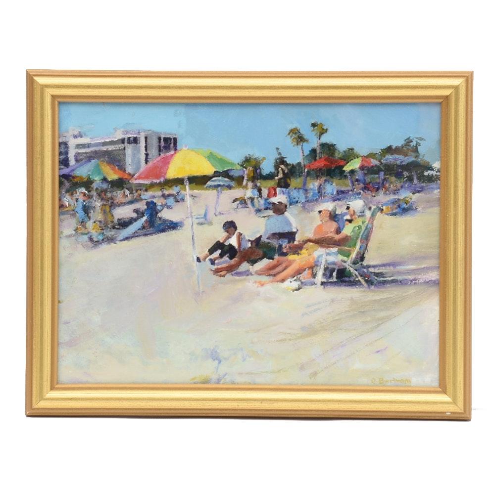 "Chris Berham Oil on Paper Painting ""Watching the Strollers Sarasota Beach"""