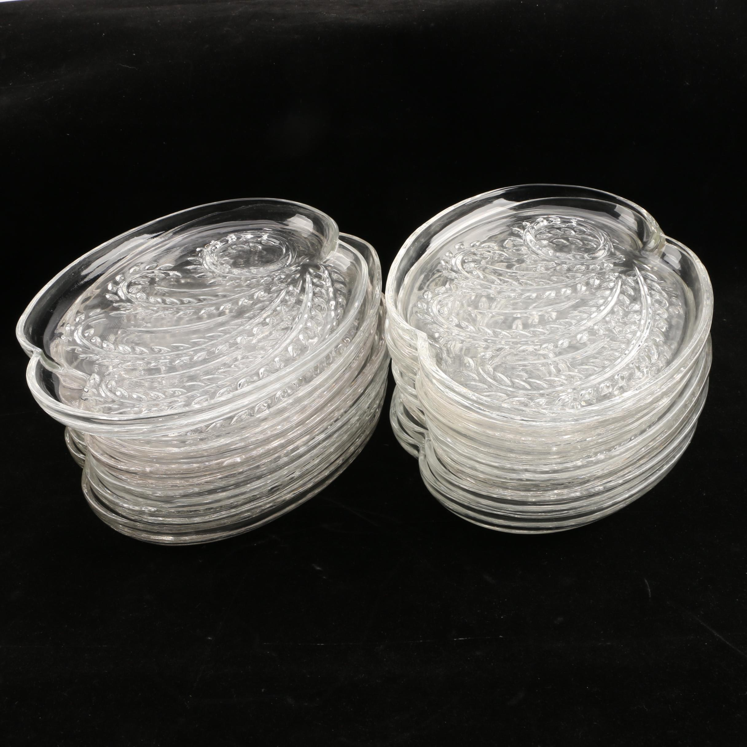 Collection of Pressed Glass Cocktail Plates