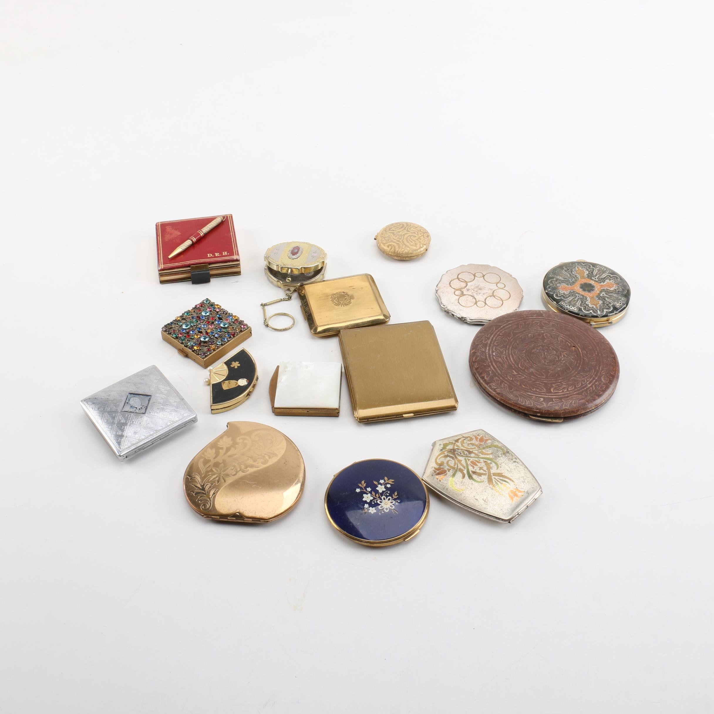 Vintage Compacts Including Embossed Leather