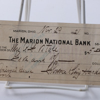 1921 Signed Florence Harding Marion National Bank Check