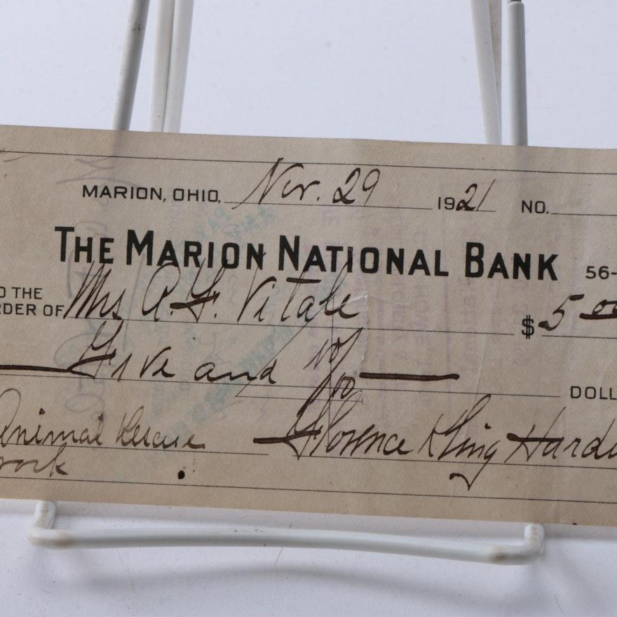 1921 Signed Florence Harding Marion National Bank Check