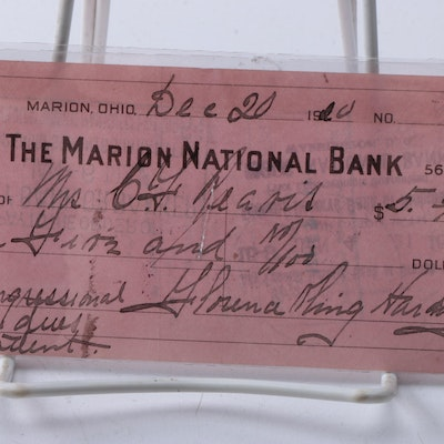 1920 Signed Florence Harding Marion National Bank Check