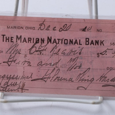 1920 Signed Florence Harding Marion National Bank Check