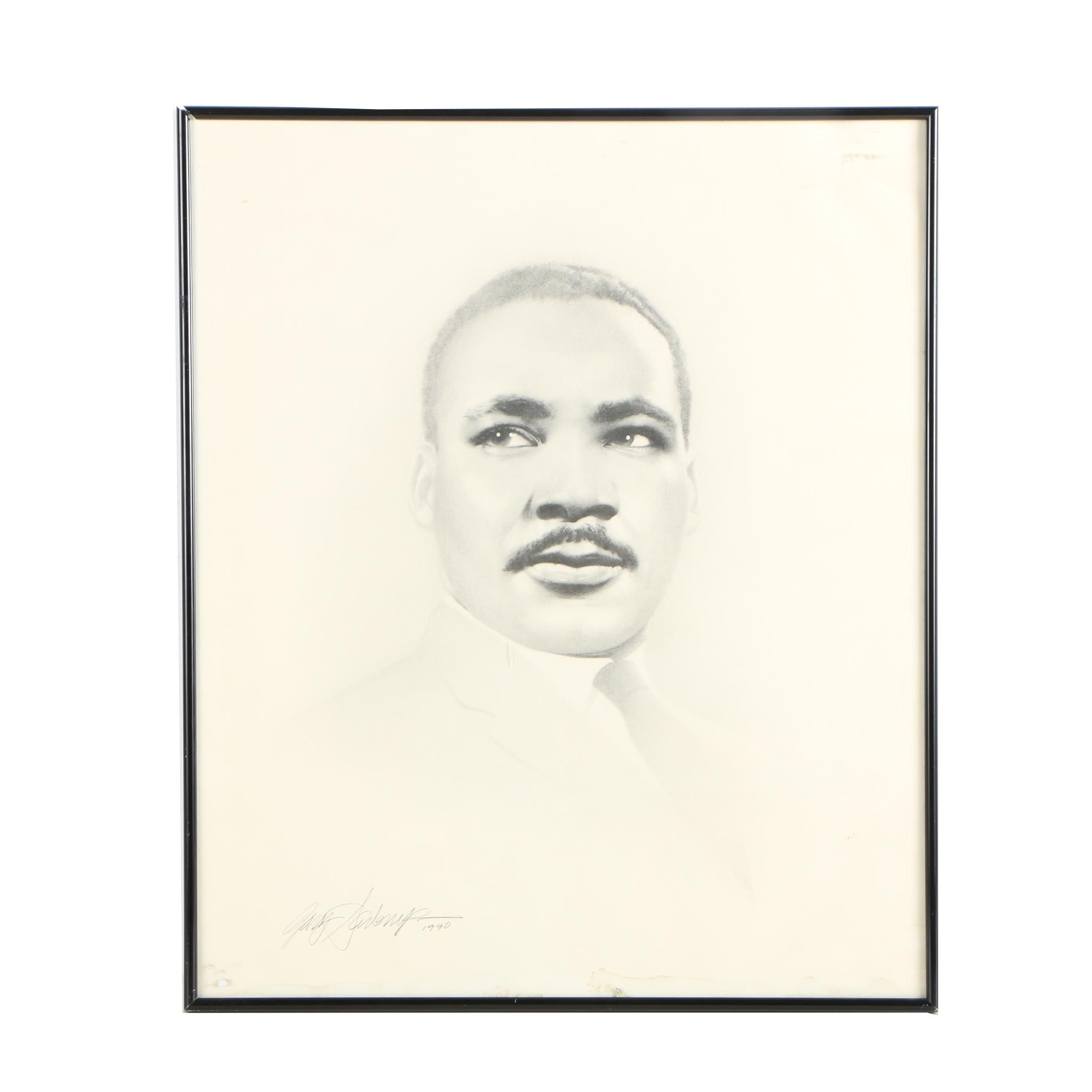 Signed 1990 Offset Lithograph After Gary Saderup of Martin Luther King Jr.