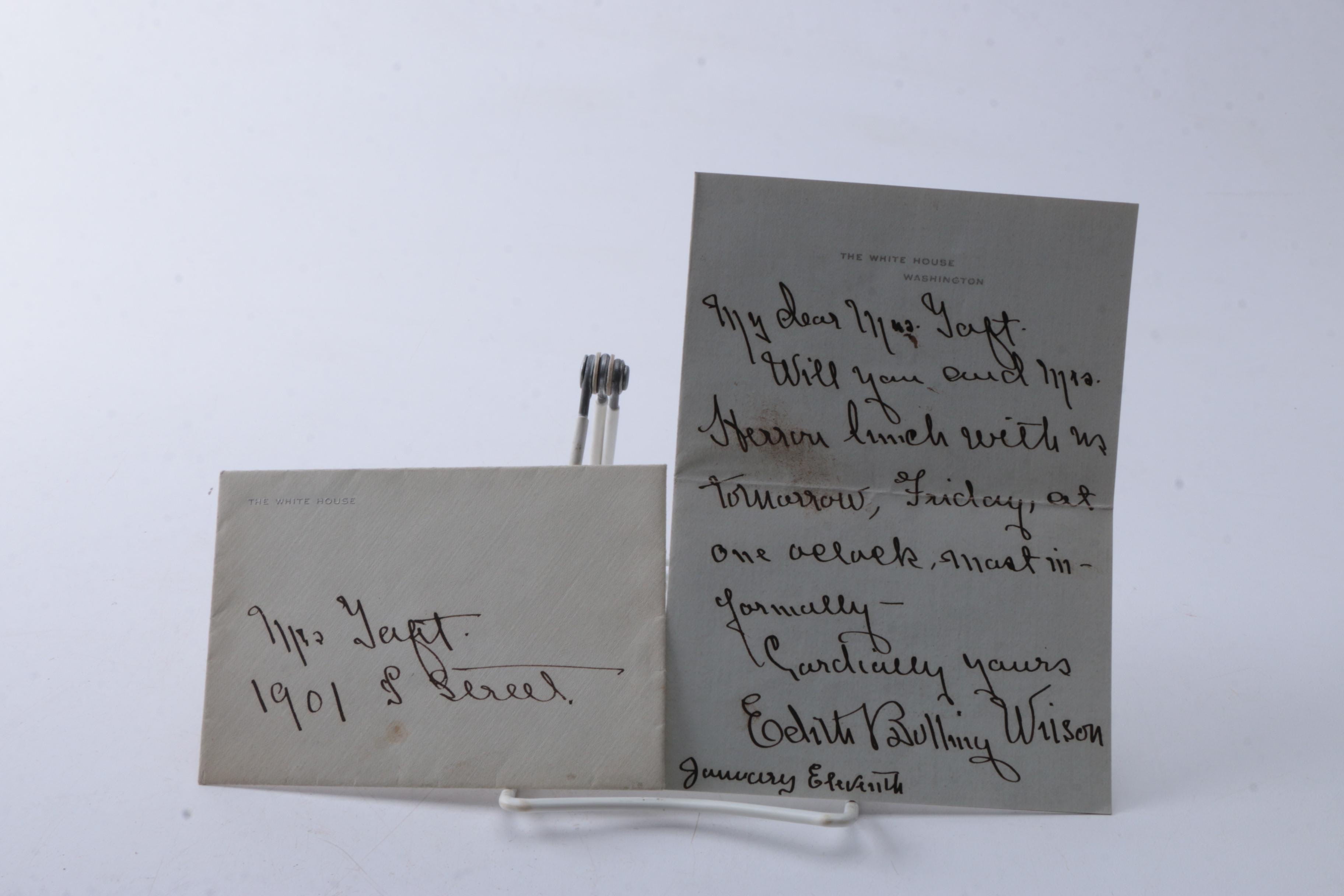 Autographed Letter from First Lady Edith Bolling Galt Wilson to Nellie Taft