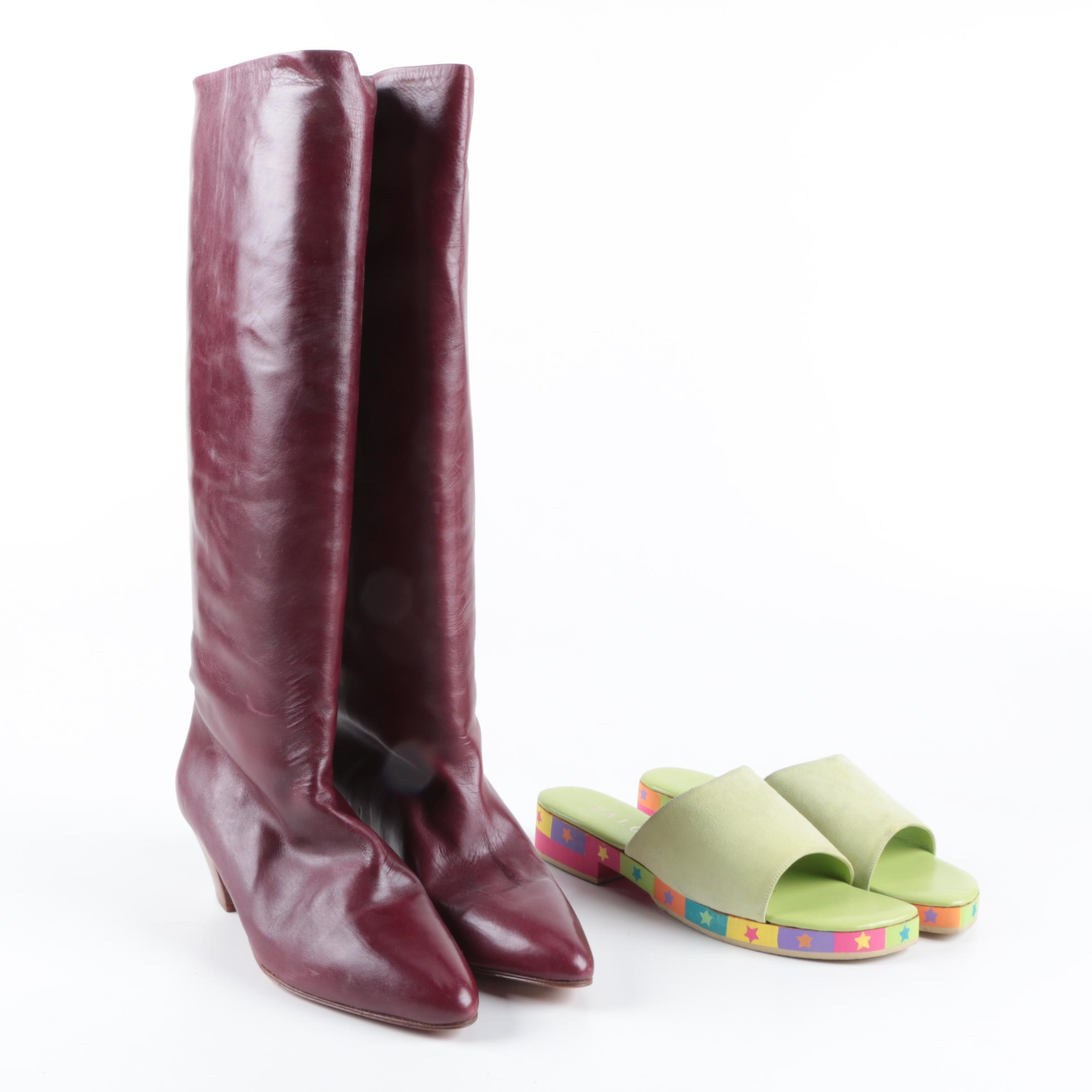 Women's Italian Leather Boots and Zalo Suede Slide Sandals
