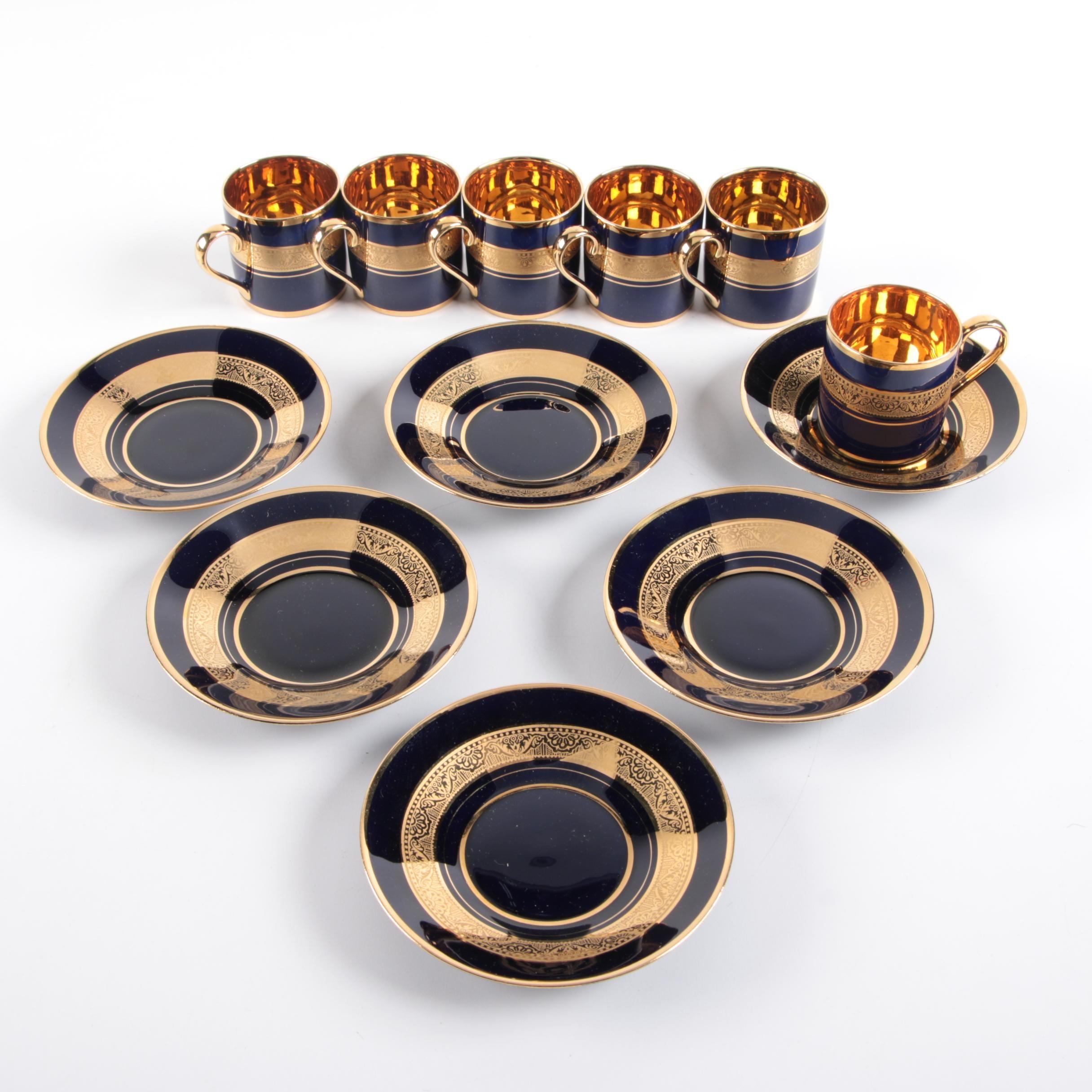 Legle Porcelain d'Art Limoges Porcelain Cobalt and Gold Teacups and Saucers