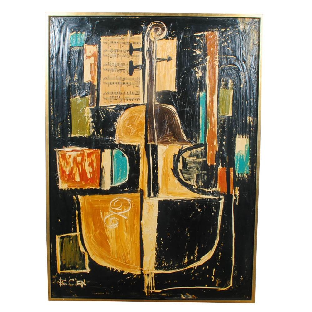 Etta Benjamin Cien Abstract Mixed Media Painting