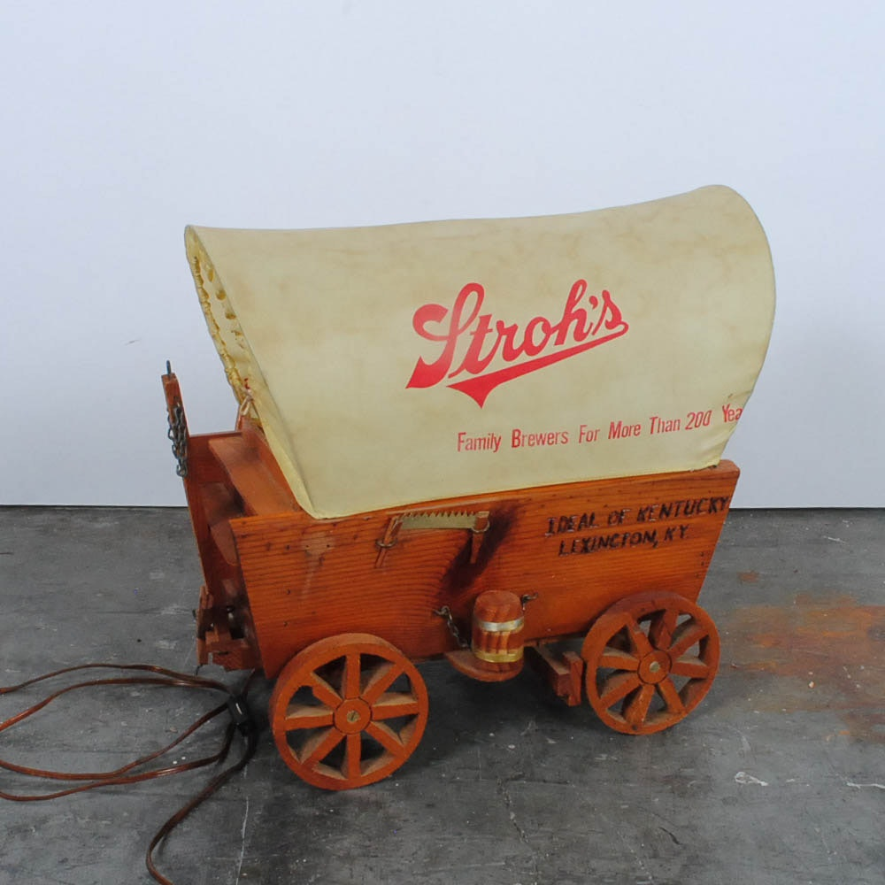 Vintage Stroh's Brewery Promotional Covered Wagon Lamp