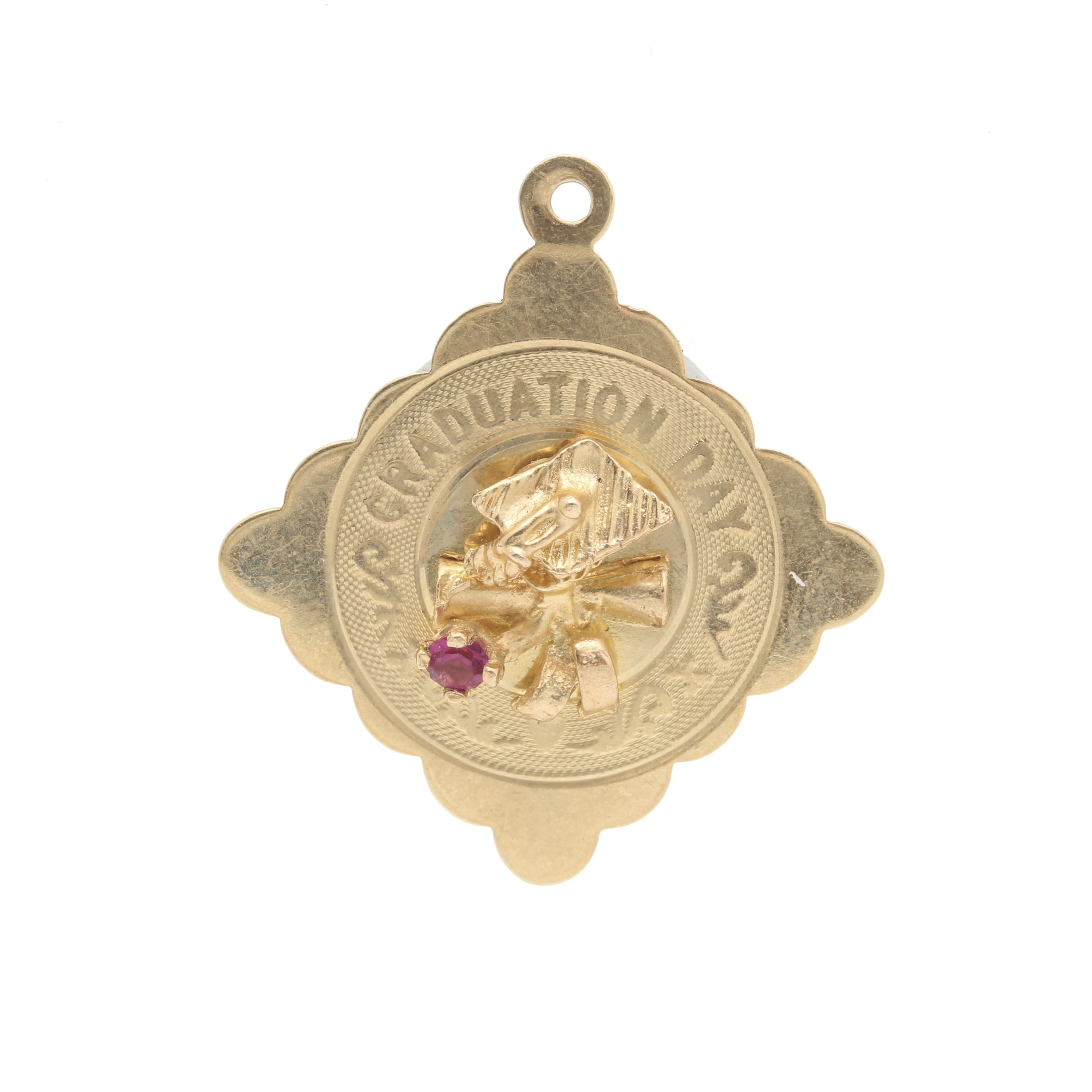 14K Yellow Gold Red Glass Graduation Day Charm