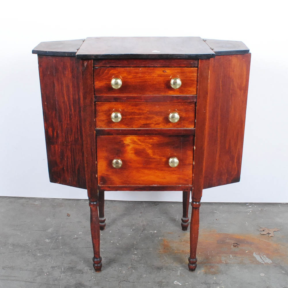 Vintage Mahogany-Finished Sewing Chest