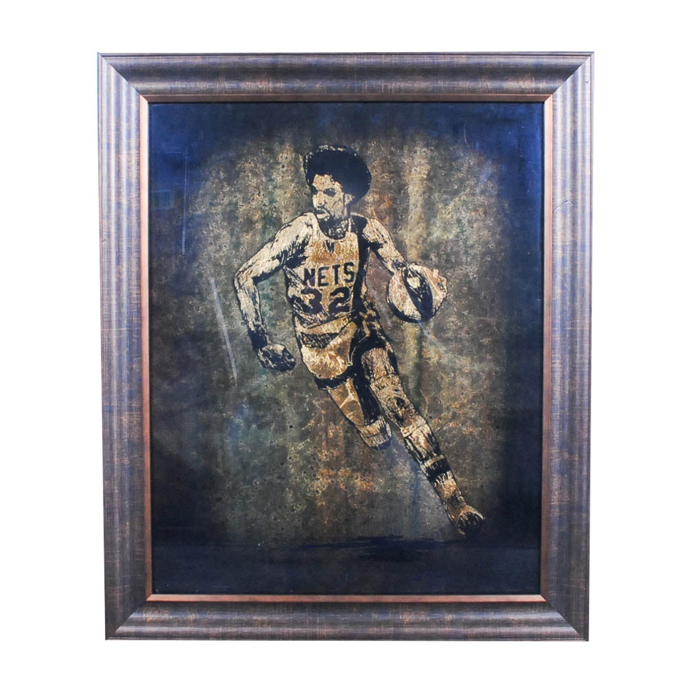 Jack White Commissioned Gold Leaf Portrait on Paper of Julius Erving